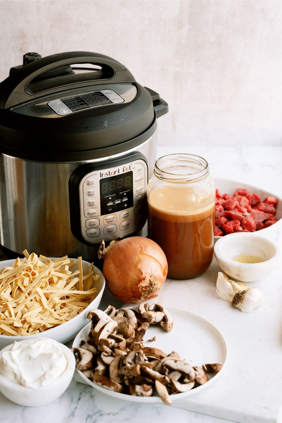 Ingredients for Instant Pot Beef Stroganoff Recipe