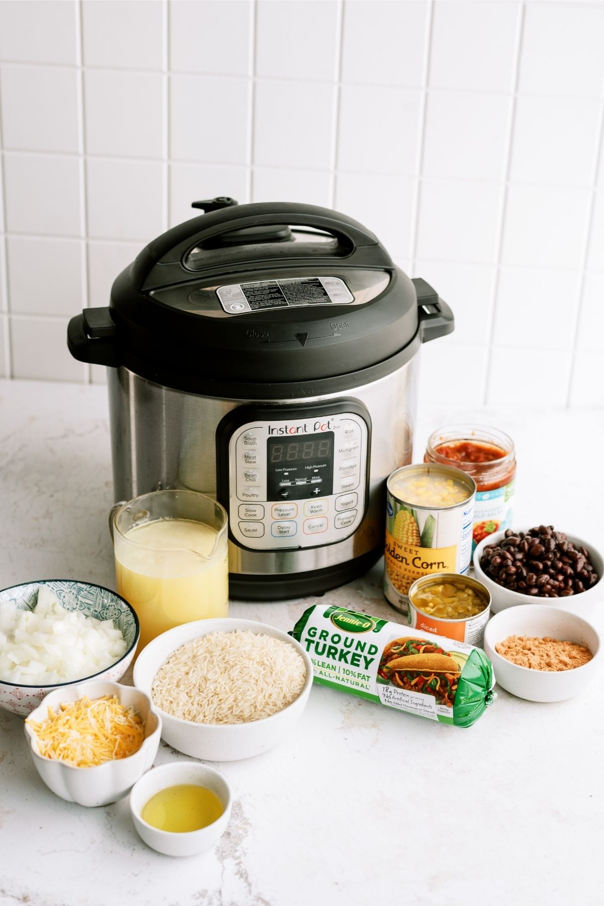 Ingredients for Instant Pot Ground Turkey and Rice Taco Bowls Recipe