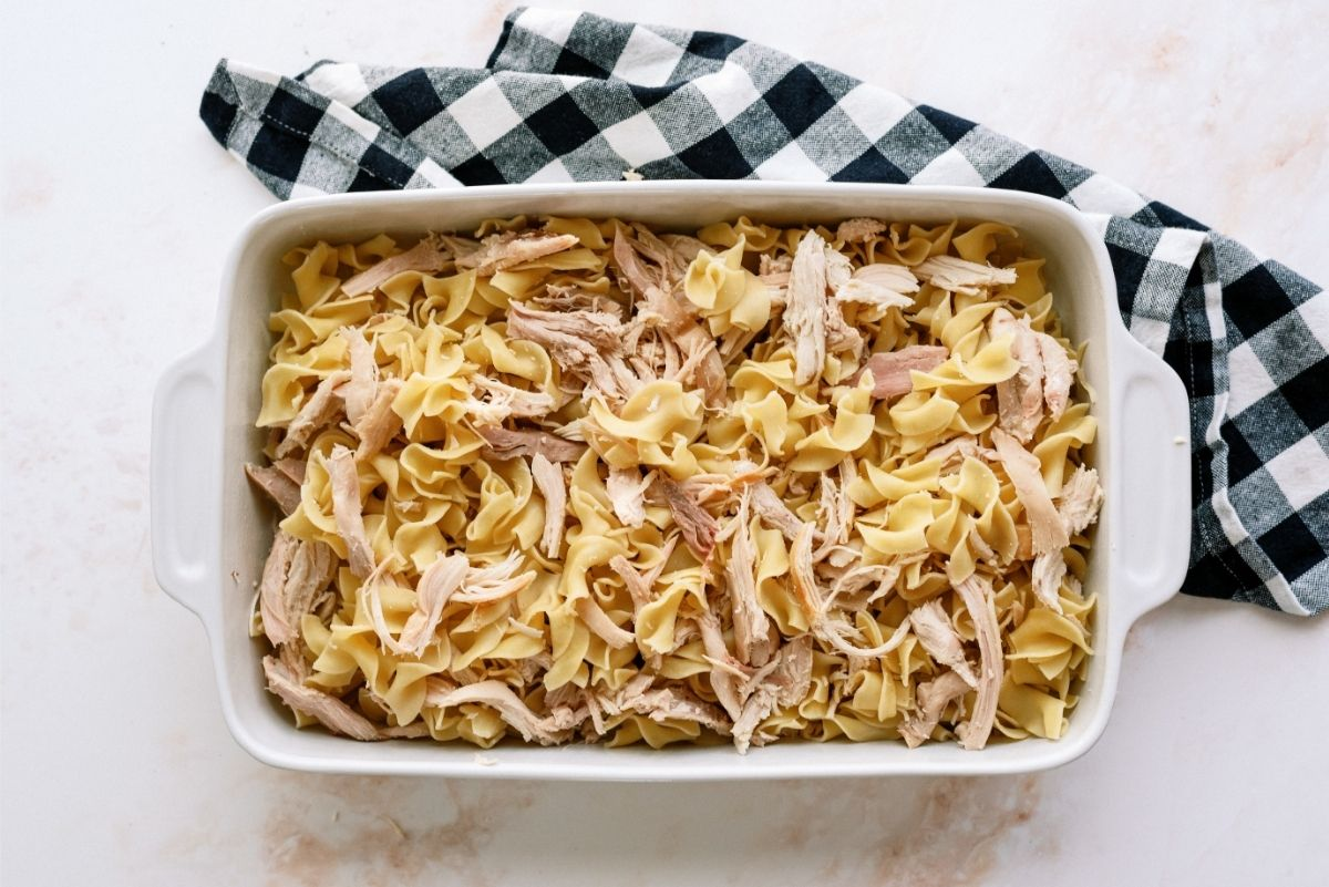 Noodles and shredded Chicken in baking dish