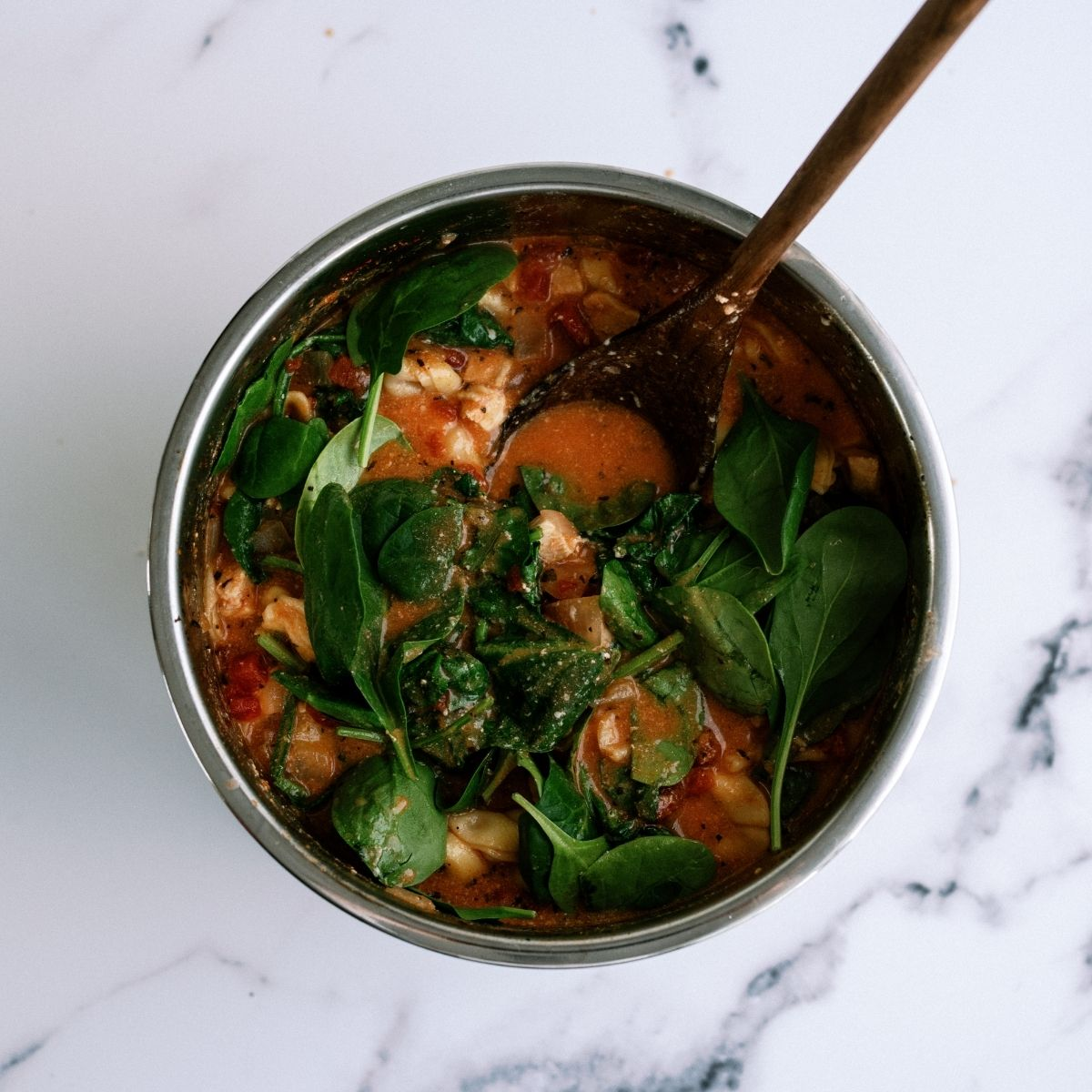 Spinach in Instant Pot for Instant Pot Creamy Tortellini Soup