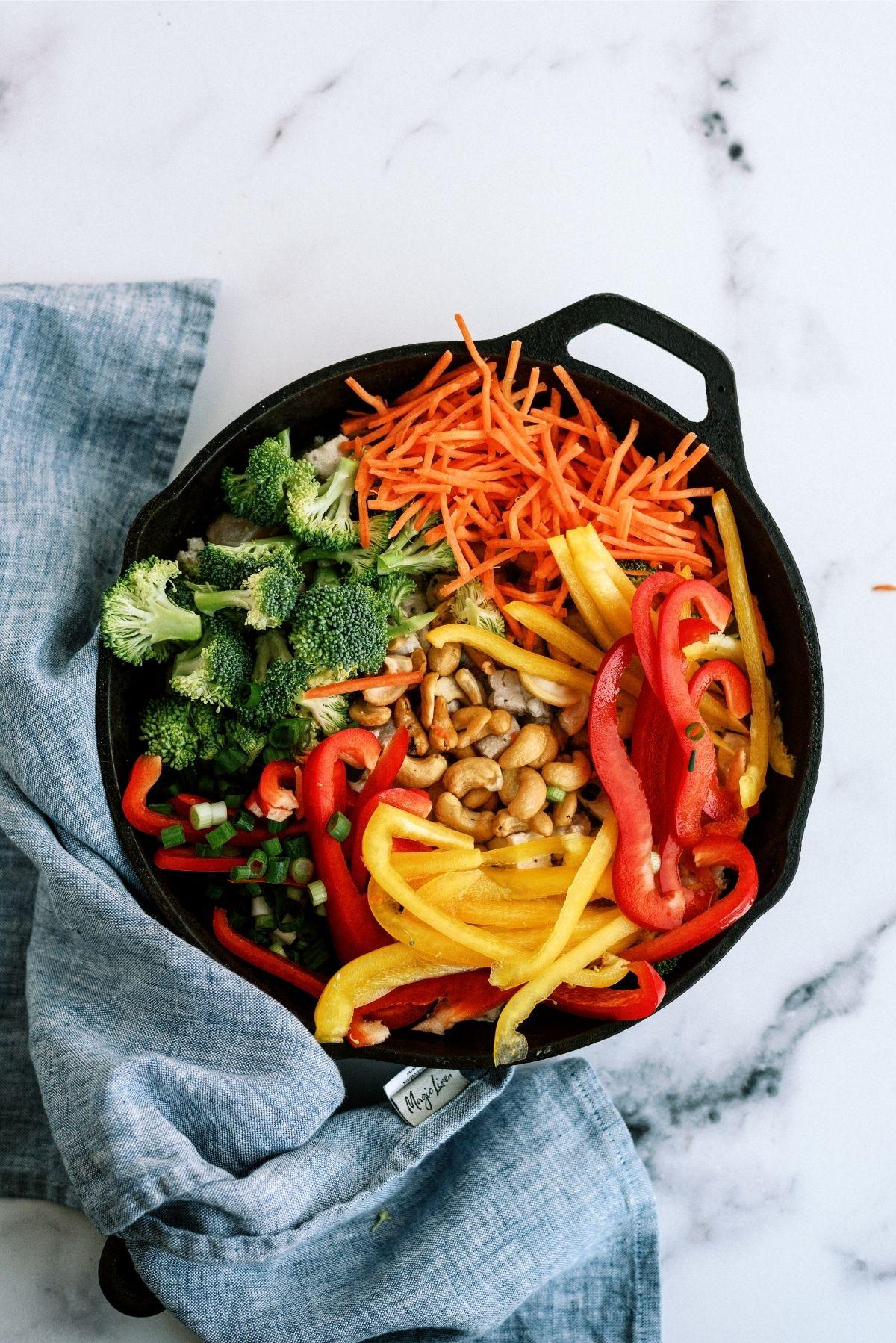 Veggies in a skillet for Cashew Chicken Skillet Stir-Fry