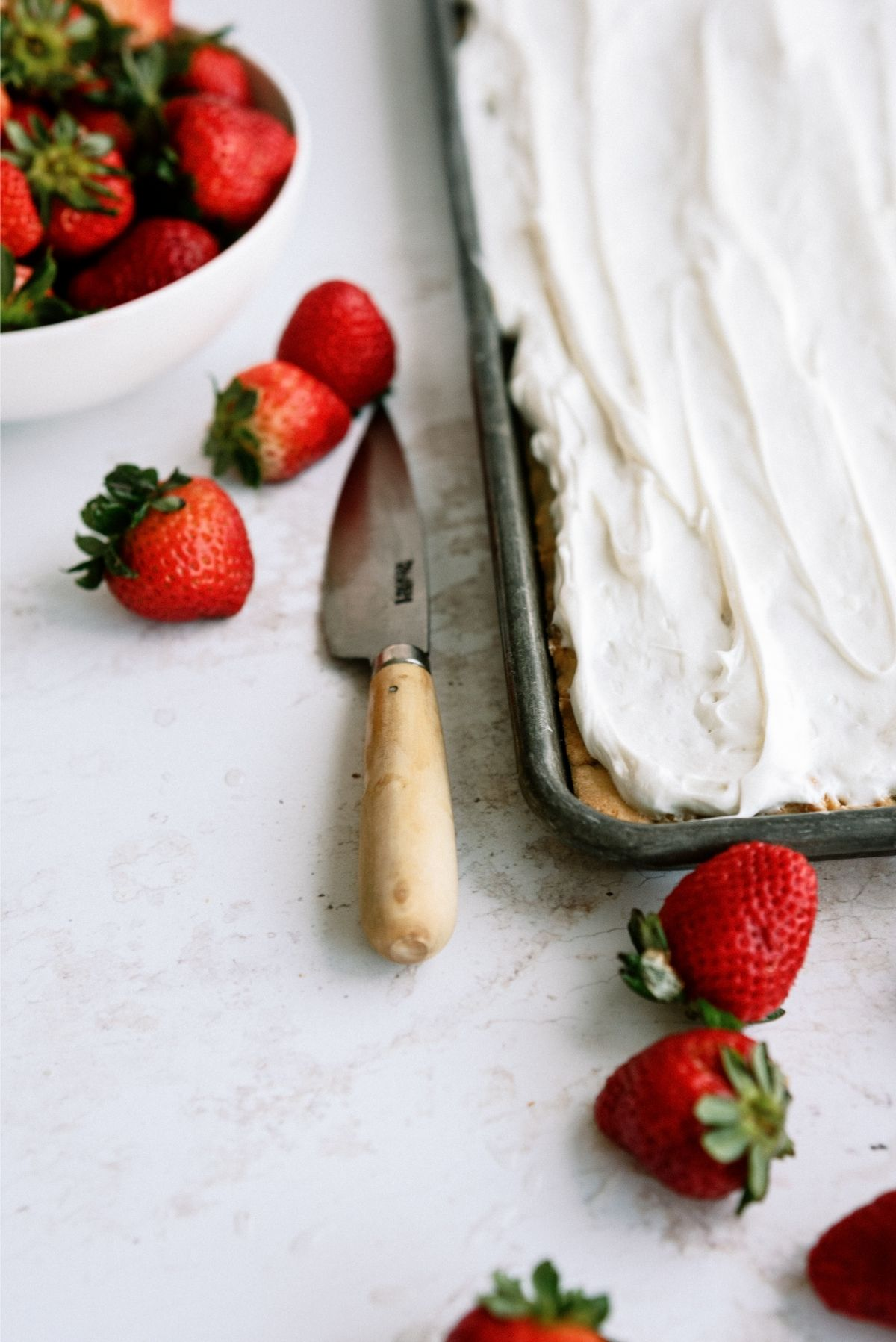Whipped topping on Crust for Strawberry Shortcake Bars