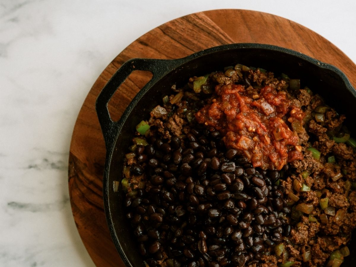 Beef and Bean mixture for Sheet Pan Ground Beef Quesadillas Recipe