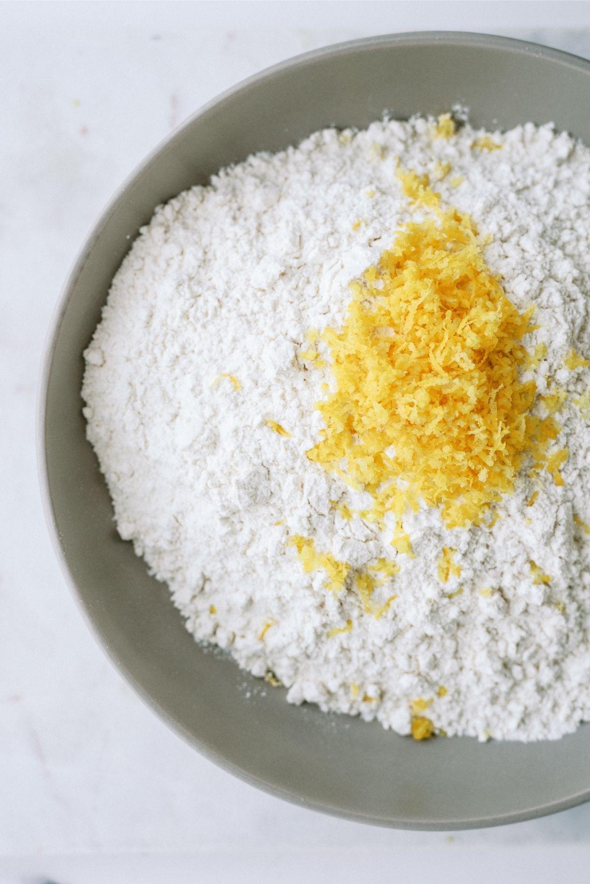 Flour and Lemon Zest in bowl
