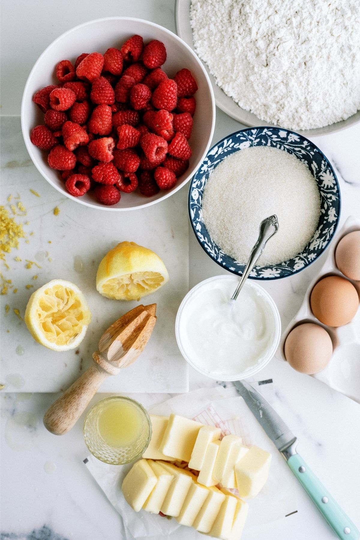 Ingredients for Fresh Raspberry Yogurt Bundt Cake