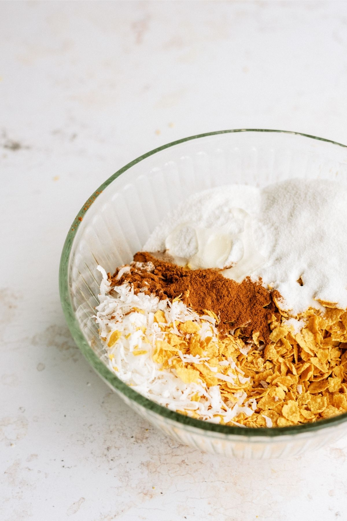 Ingredients for Homemade Fried Ice Cream in glass bowl