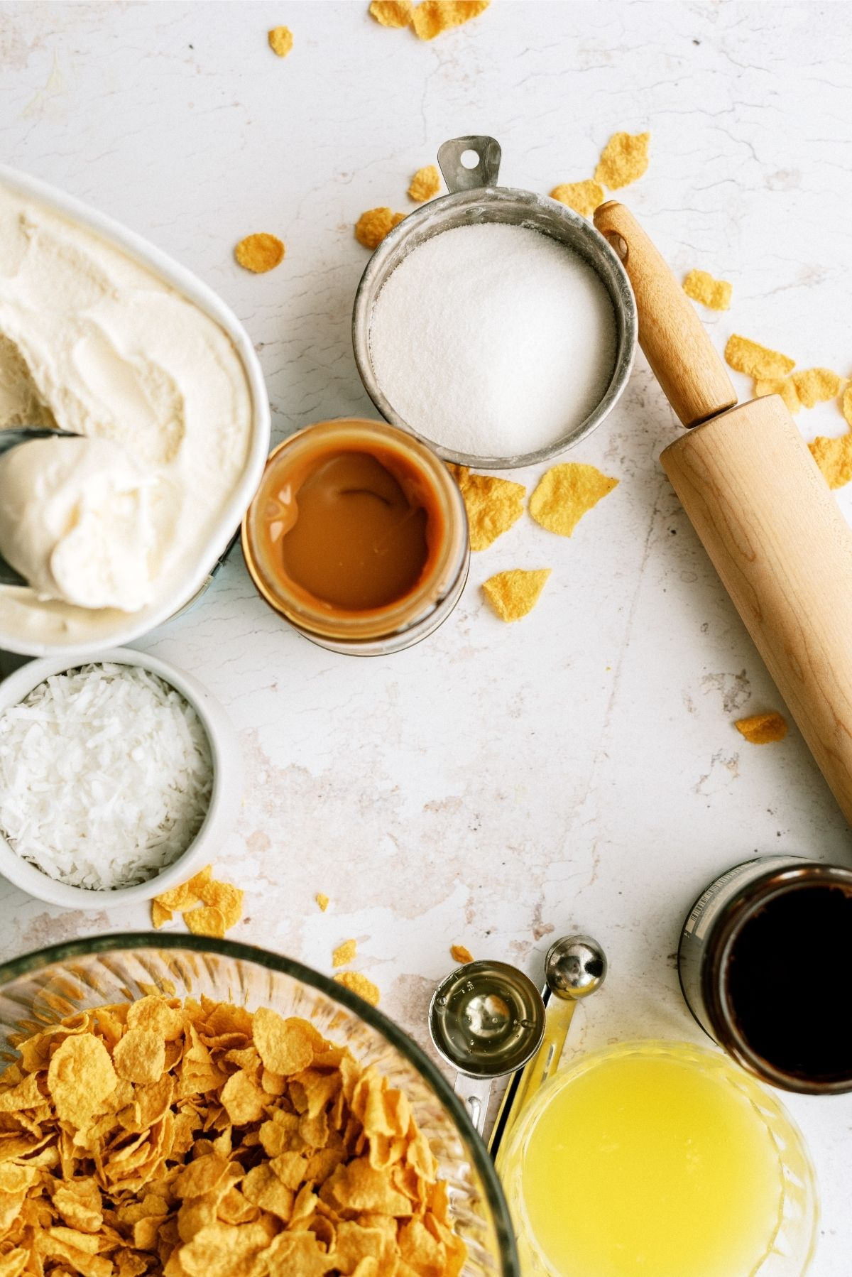 Ingredients for Homemade Fried Ice Cream