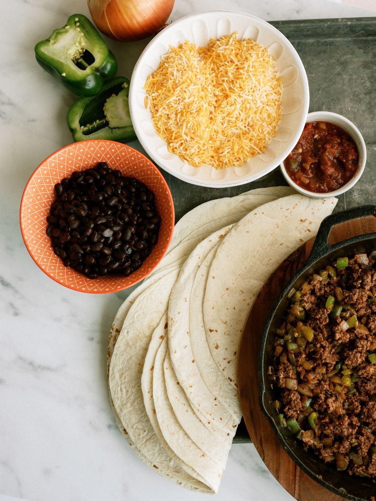 Ingredients for Sheet Pan Ground Beef Quesadillas Recipe