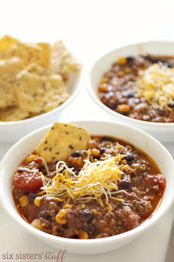 Intsant Pot Beef and Bean Taco Soup with chips and cheese