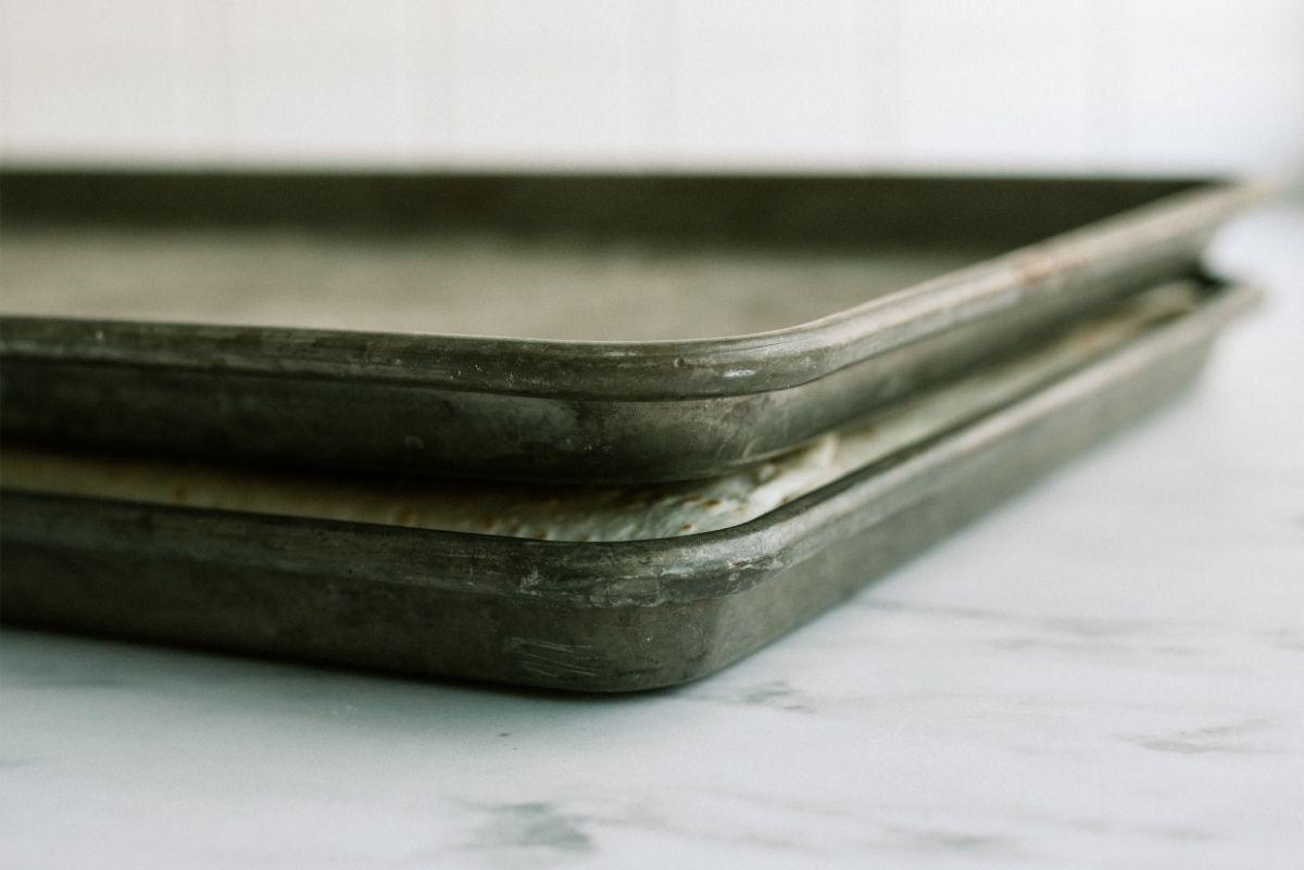 Sheet Pan on top of Unbaked Sheet Pan Ground Beef Quesadillas Recipe