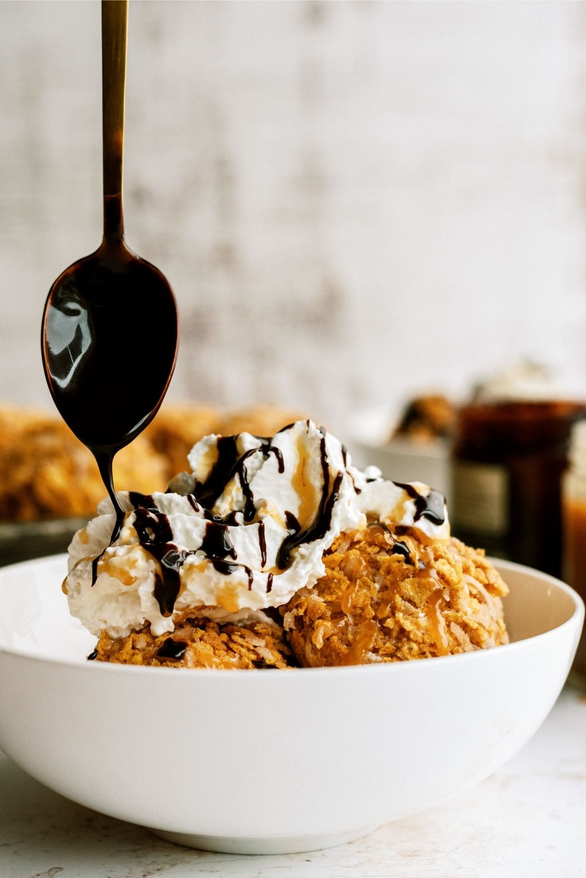 Toppings on Fried Ice Cream in white bowl