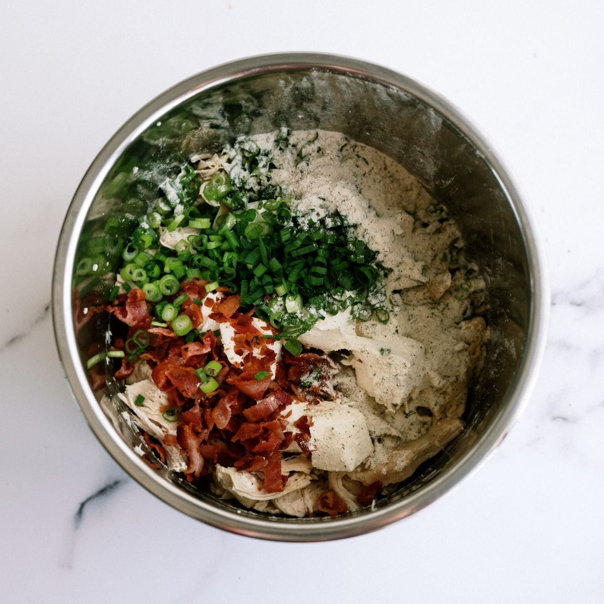 All ingredients for Chicken Bacon Ranch Sandwiches in the Instant Pot