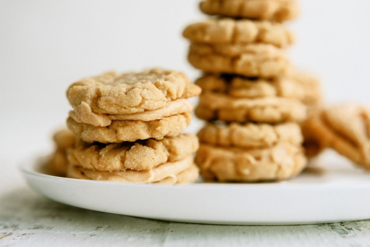 Homemade Nutter Butter Cookies on a white plate