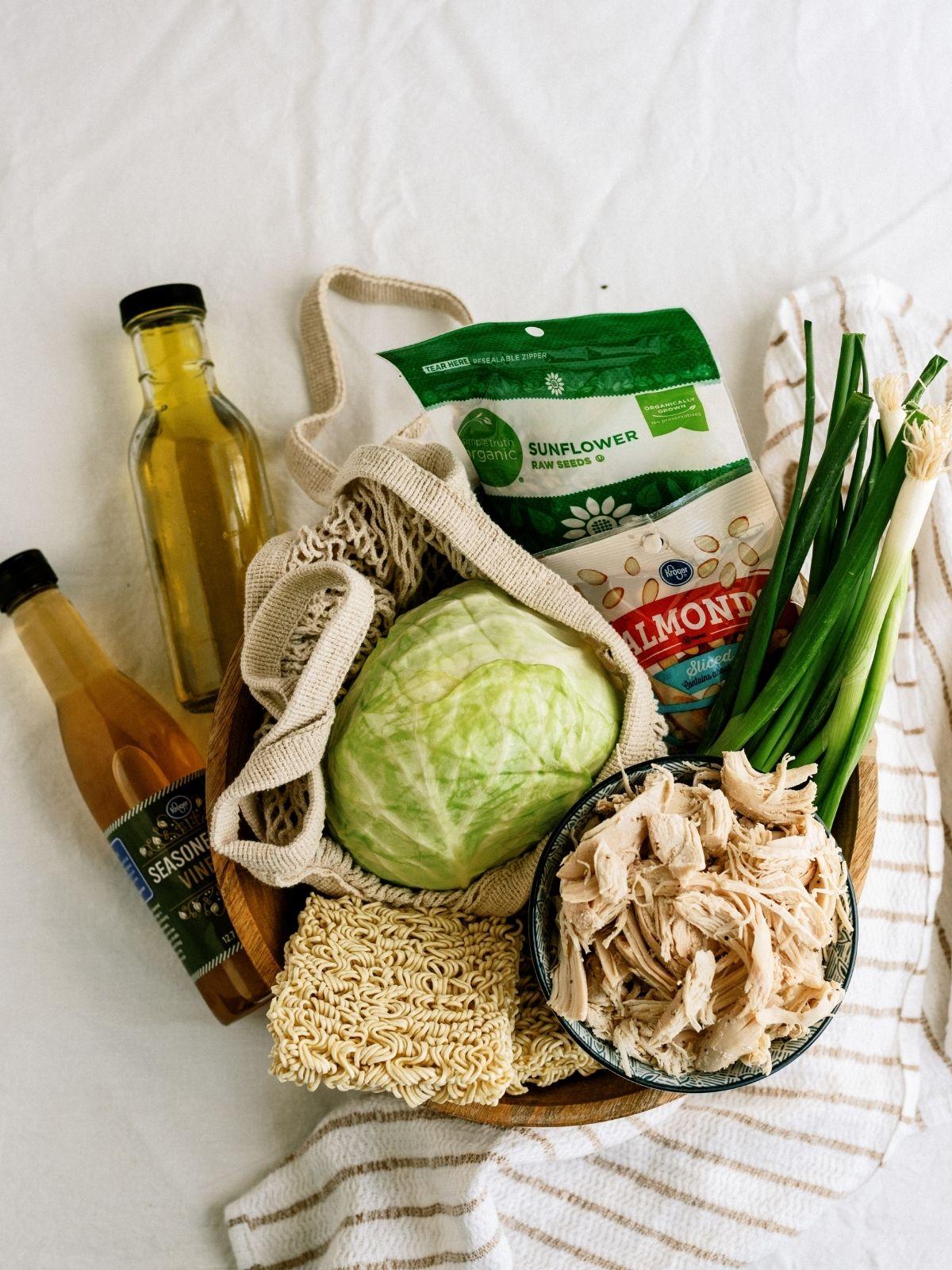 Ingredients for Ramen Noodle Oriental Chicken Salad