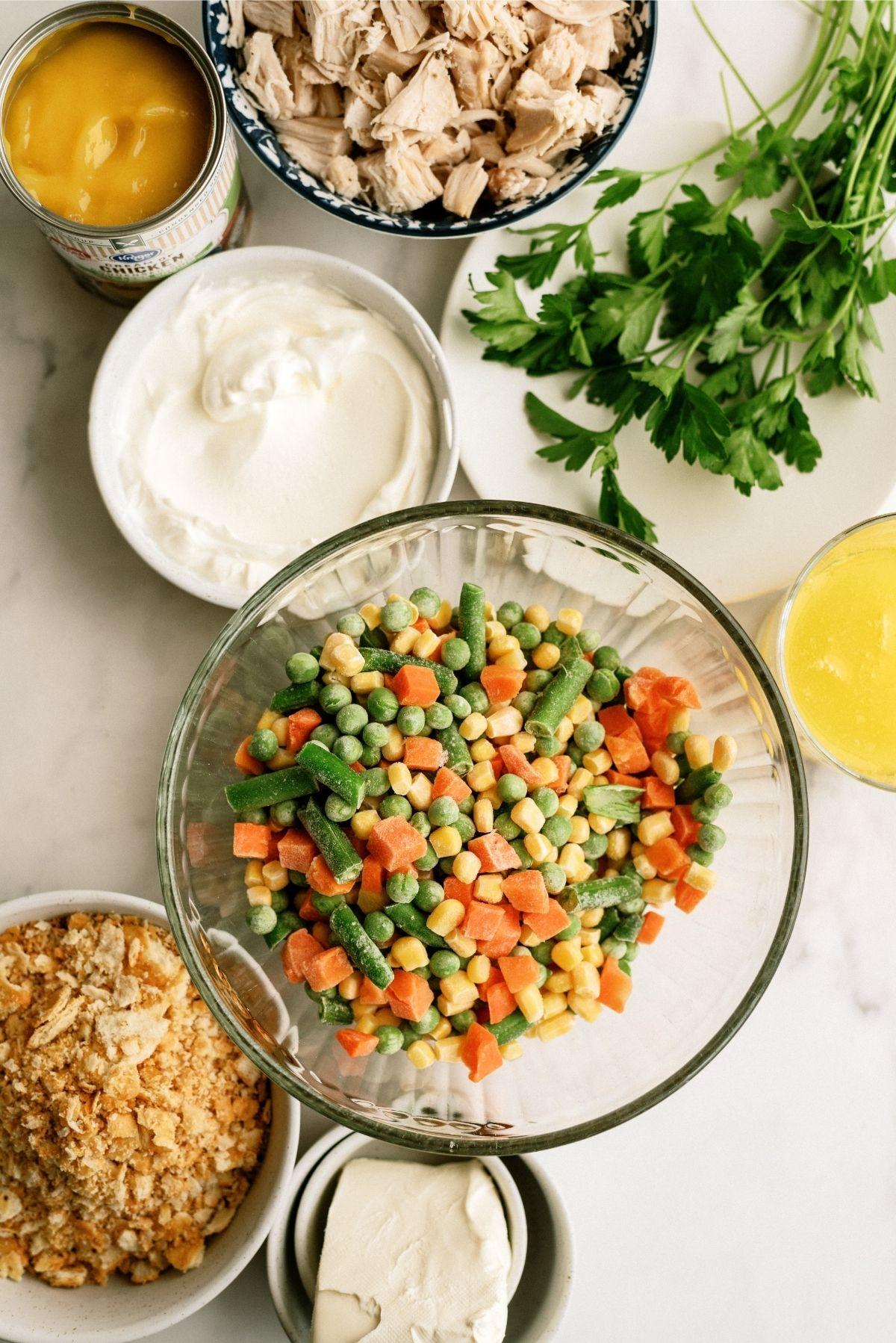 Ingredients for Ritz Cracker Chicken Casserole Recipe
