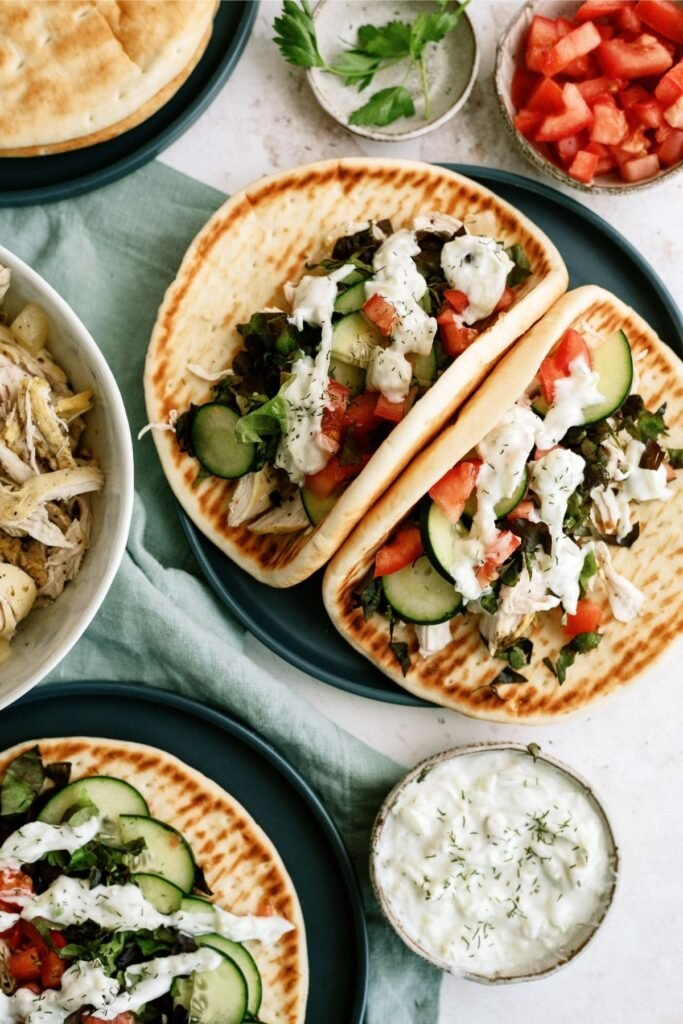 chicken gyros made into a freezer meal