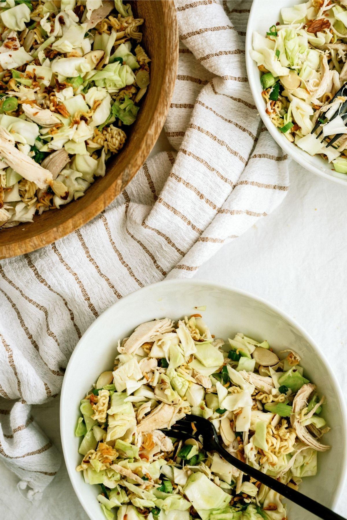 Ramen Noodle Oriental Chicken Salad in white bowl