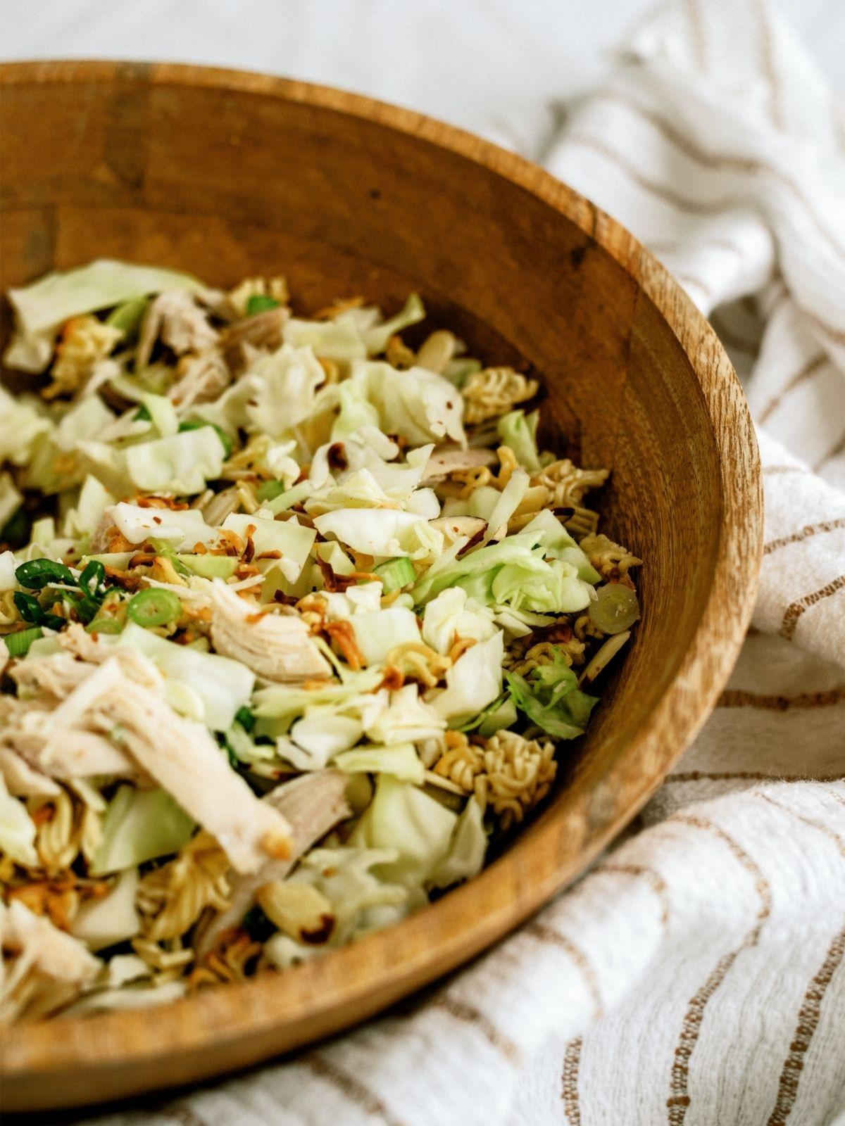 Ramen Noodle Oriental Chicken Salad in a wood bowl
