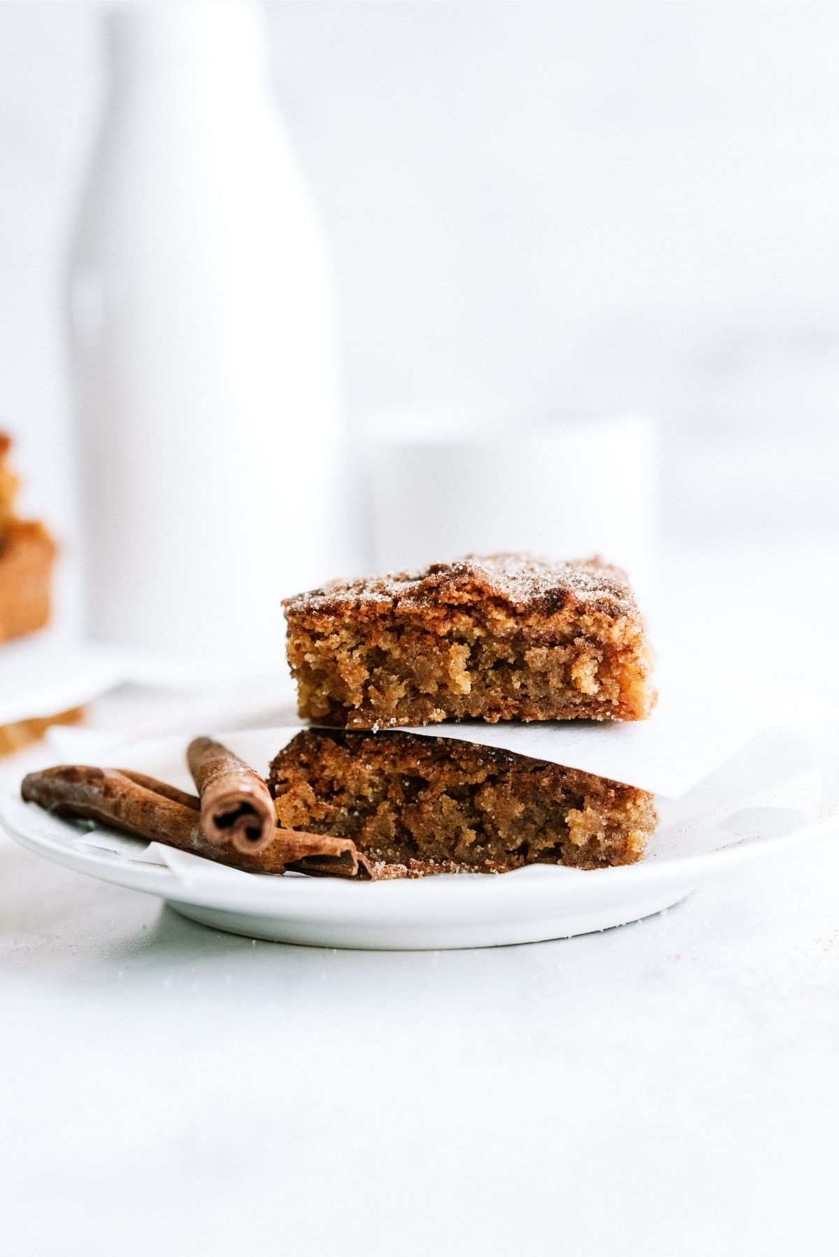 Snickerdoodle Blondies Recipe on white plate