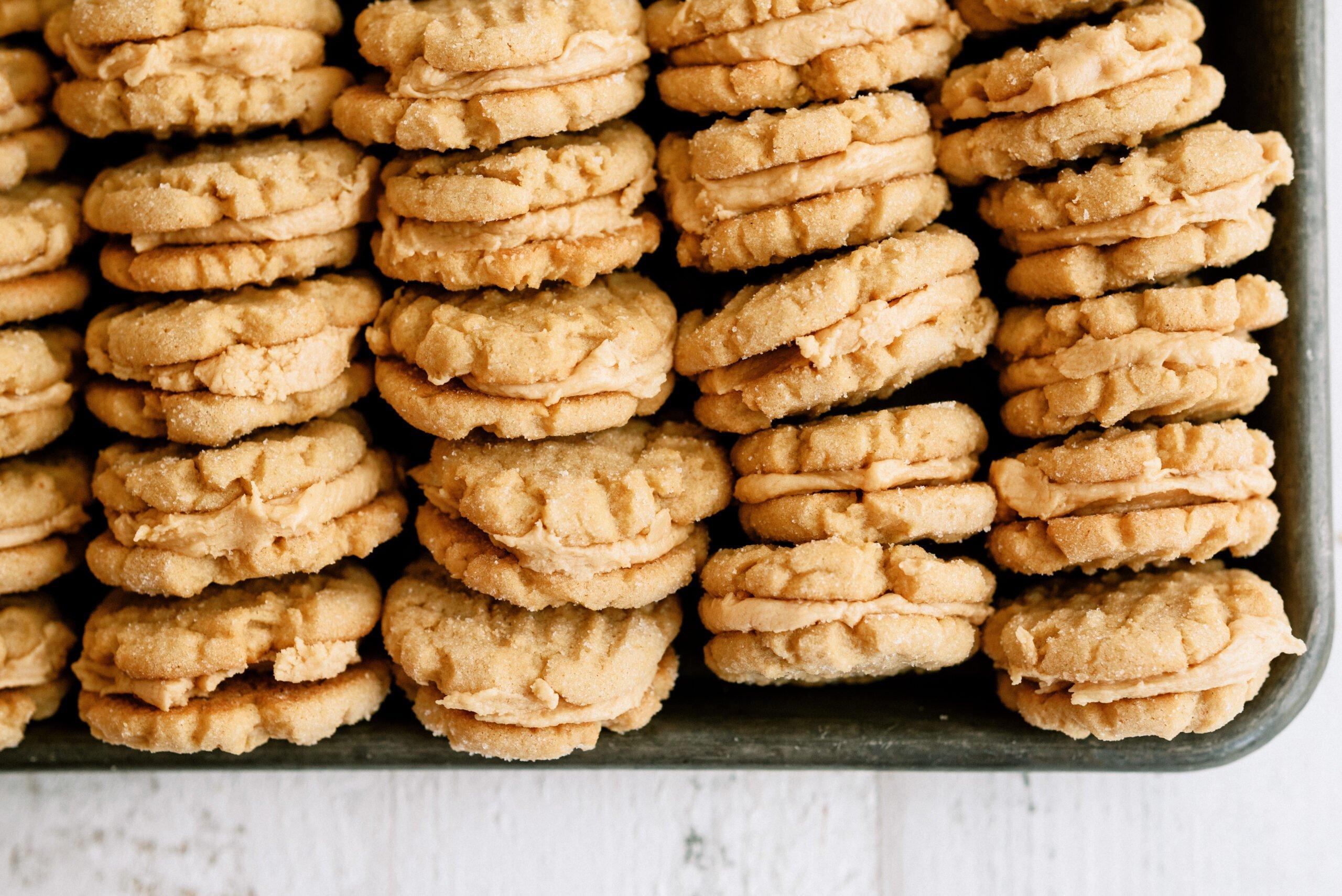 homemade nutter butter cookies in a sheet pan