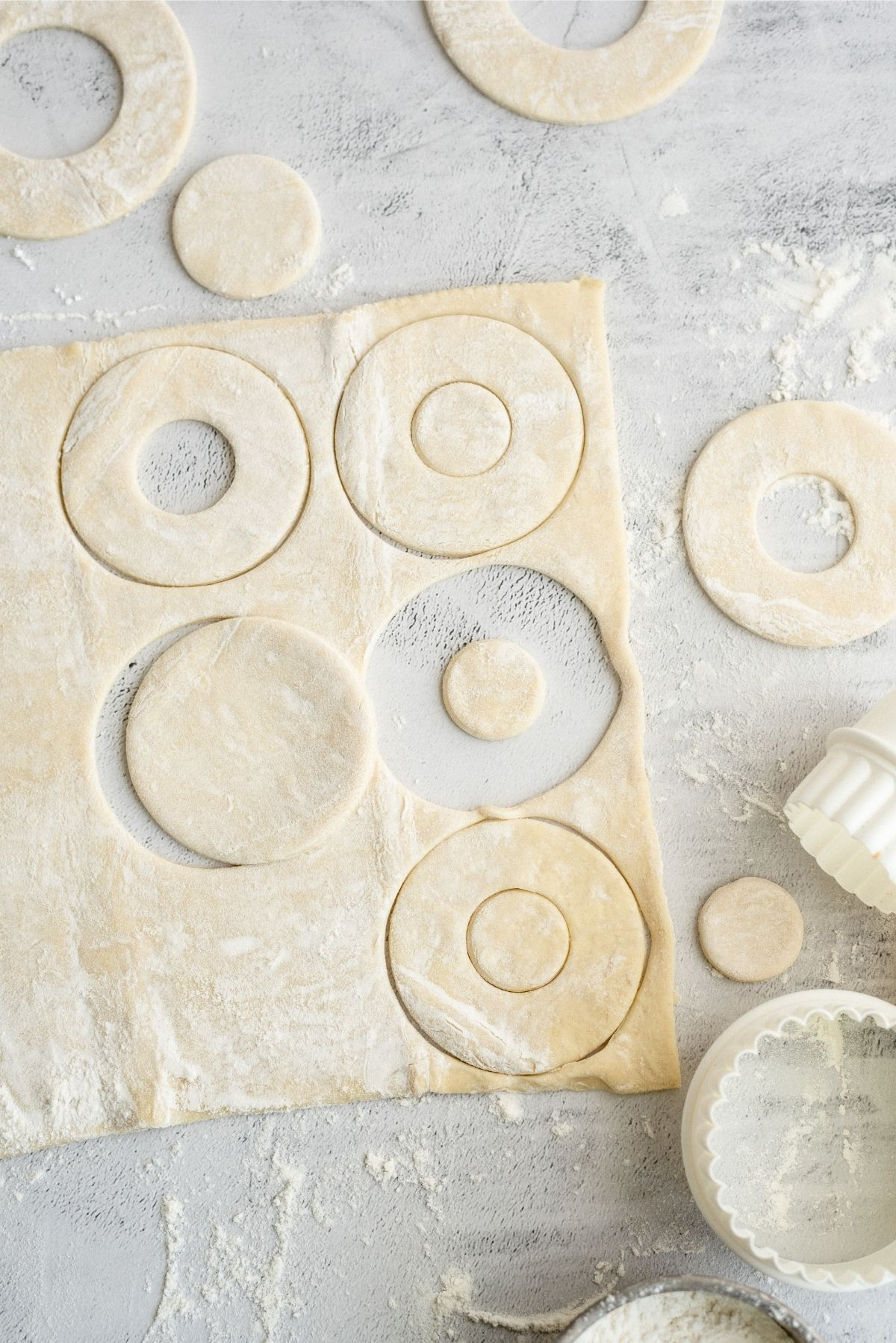 puff pastry dough cut out for donuts