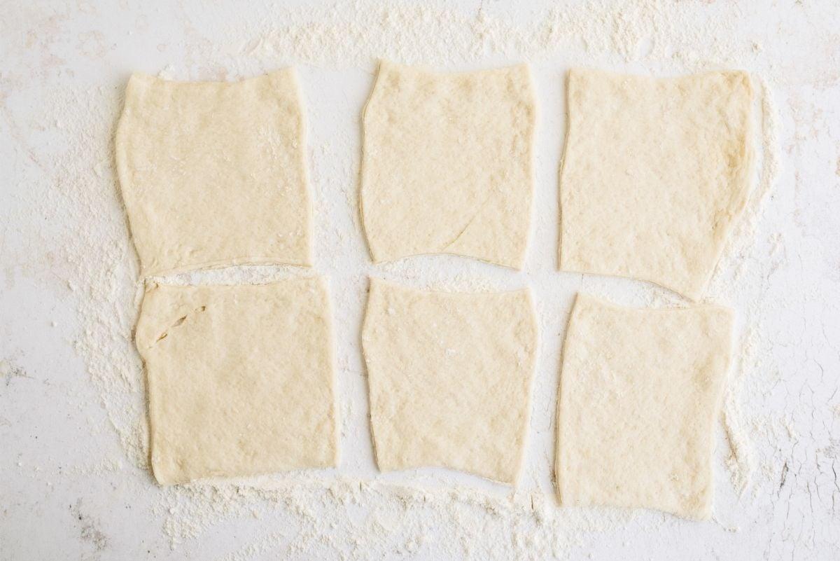 Pizza Dough cut into 6 squares