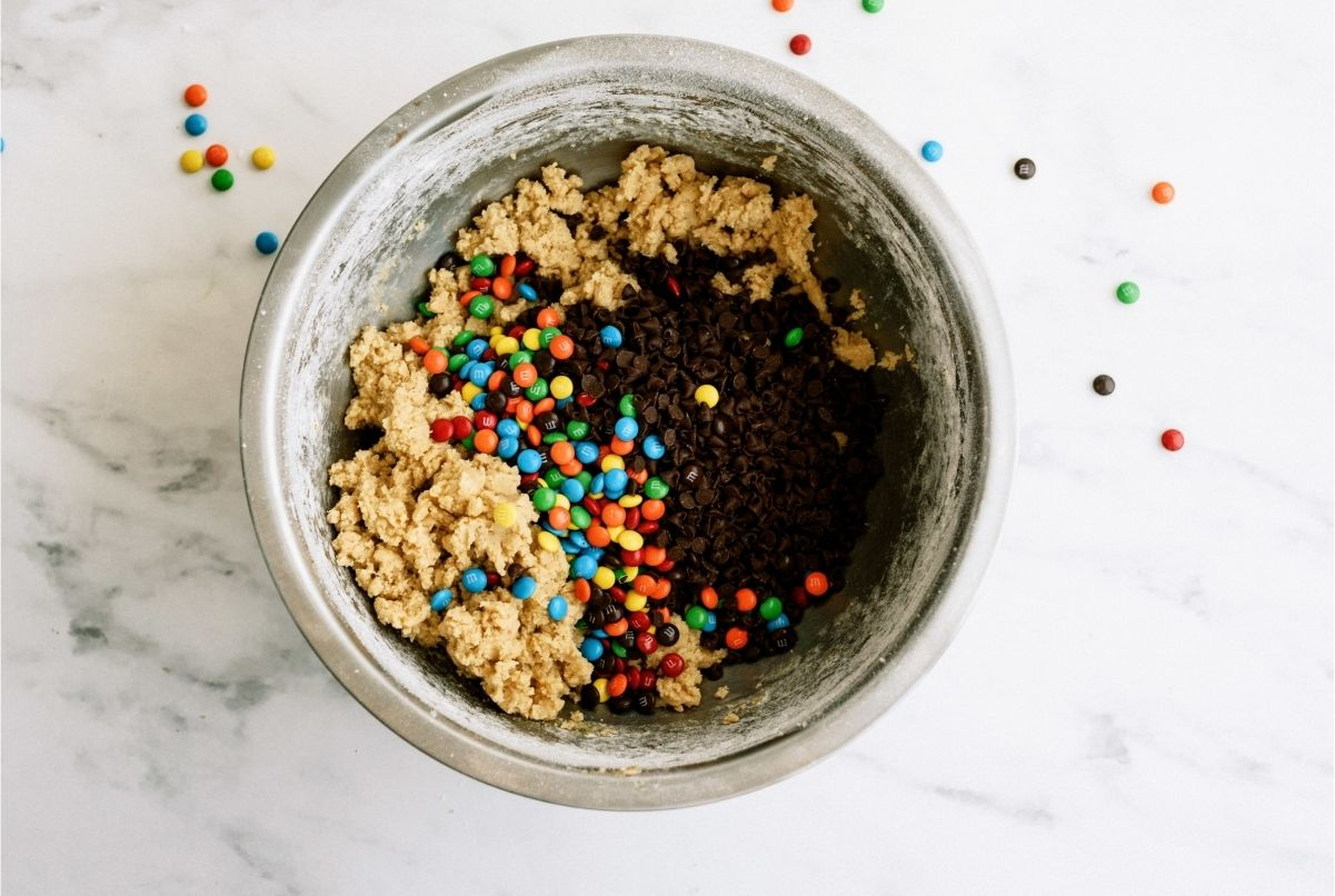 Adding M&Ms and Chocolate Chips into cookie dough