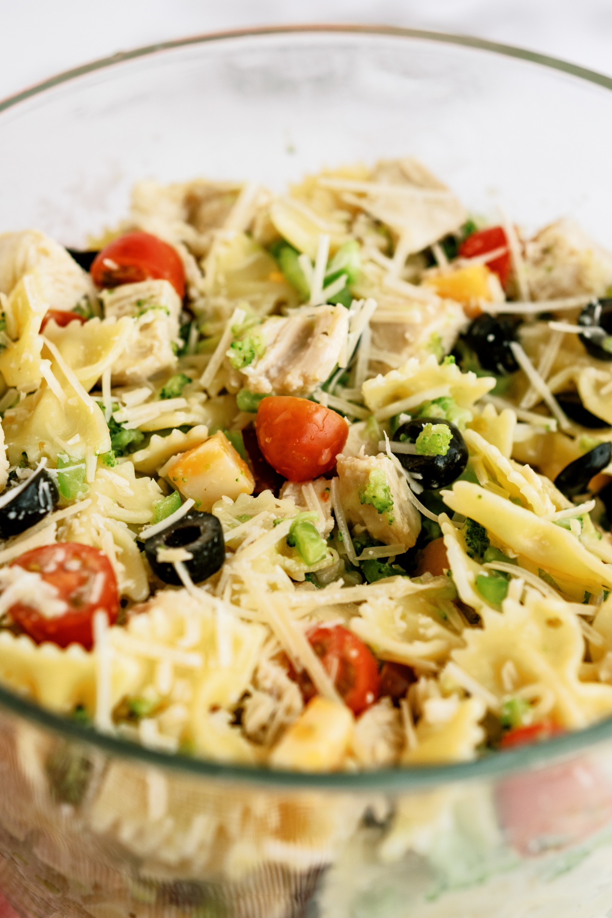 Grilled Chicken Bow Tie Pasta Salad in glass bowl