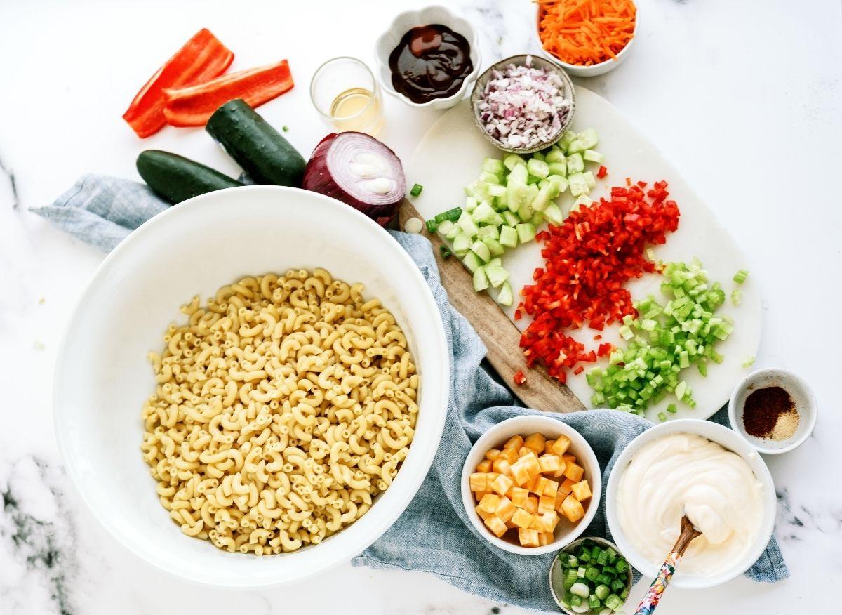 Ingredients for BBQ Macaroni Salad Recipe