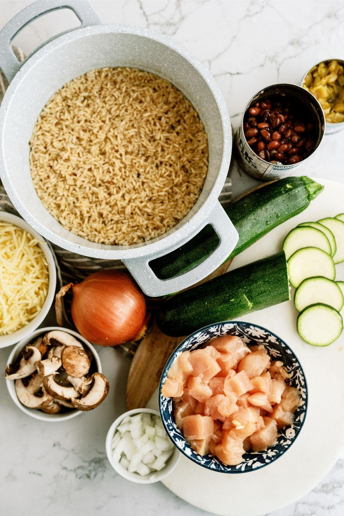 Ingredients for Chicken and Black Bean Casserole