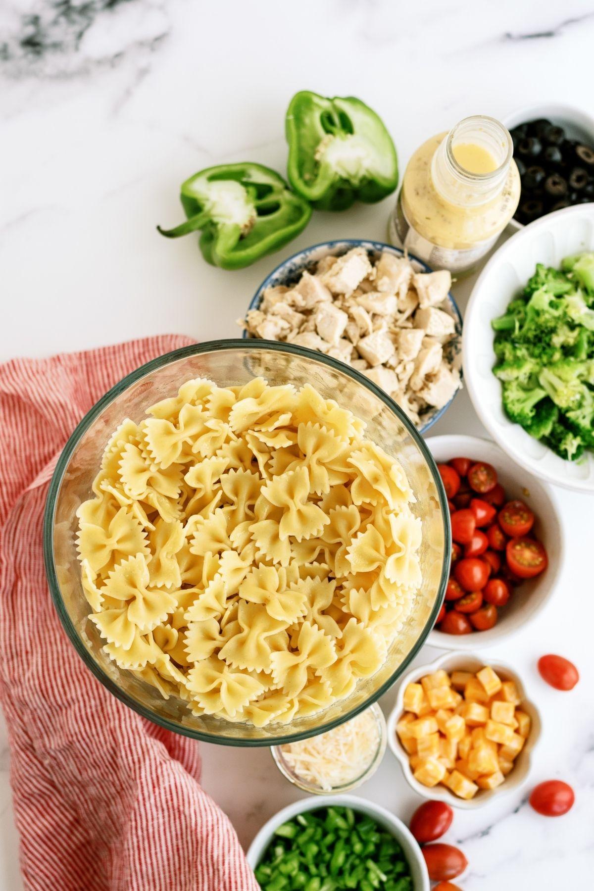 Ingredients for Grilled Chicken Bow Tie Pasta Salad Recipe