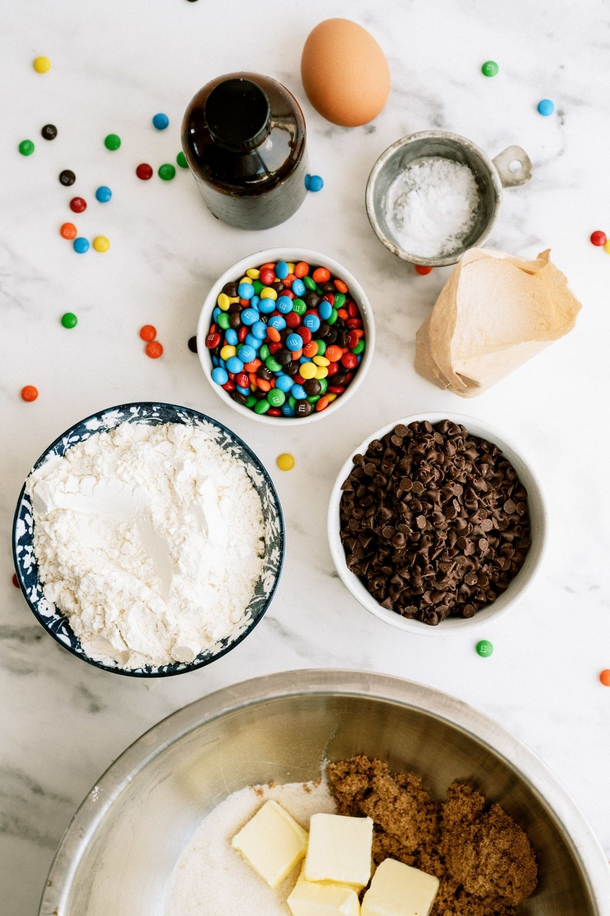Ingredients for M&M Pudding Cookies