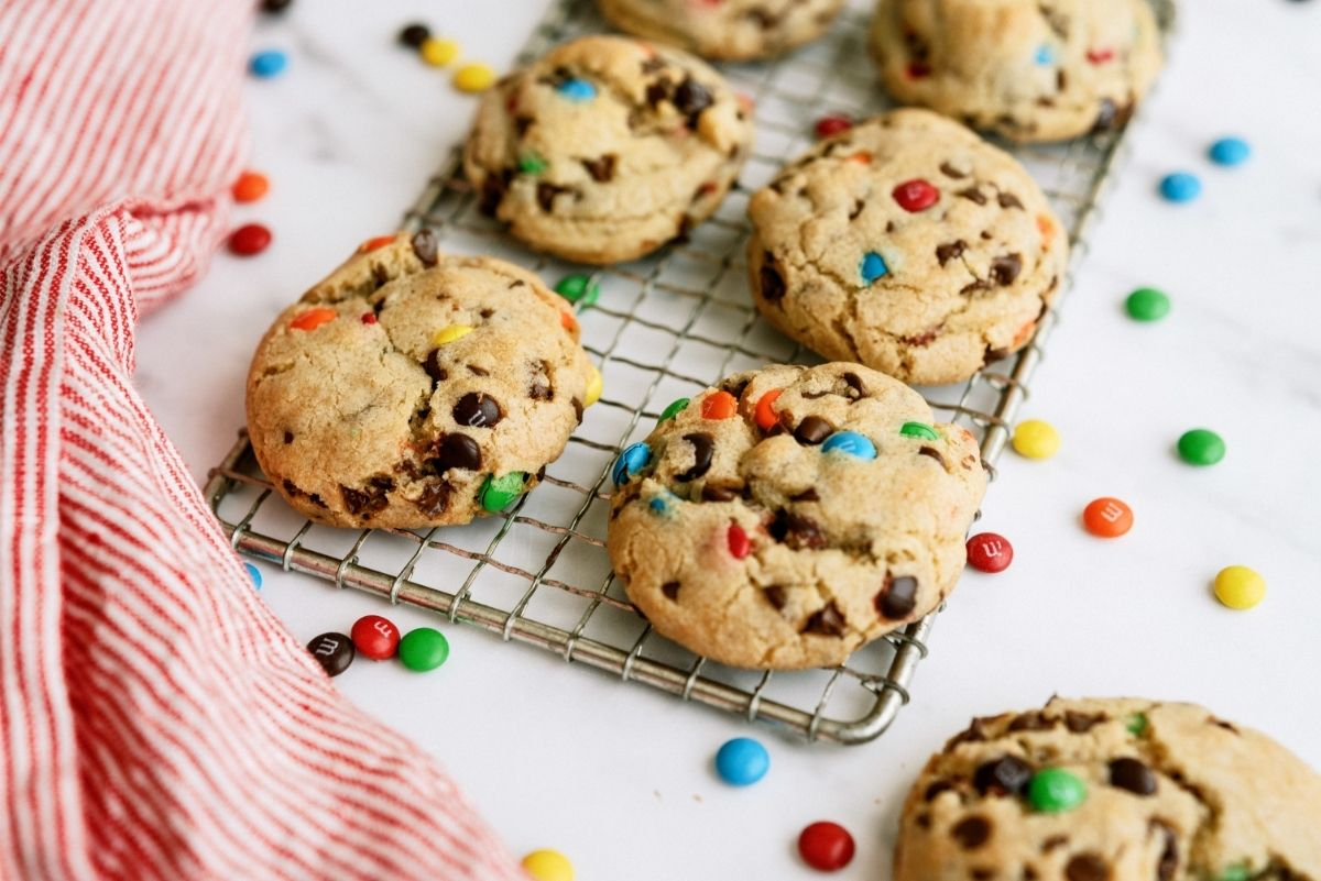 M&M Pudding Cookies on cooling rack