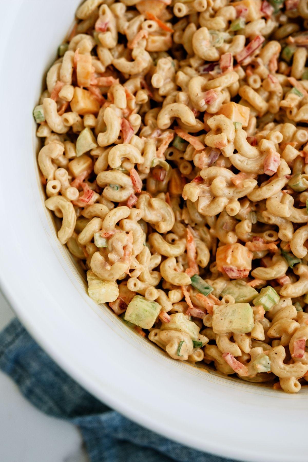 BBQ Macaroni Salad in white bowl