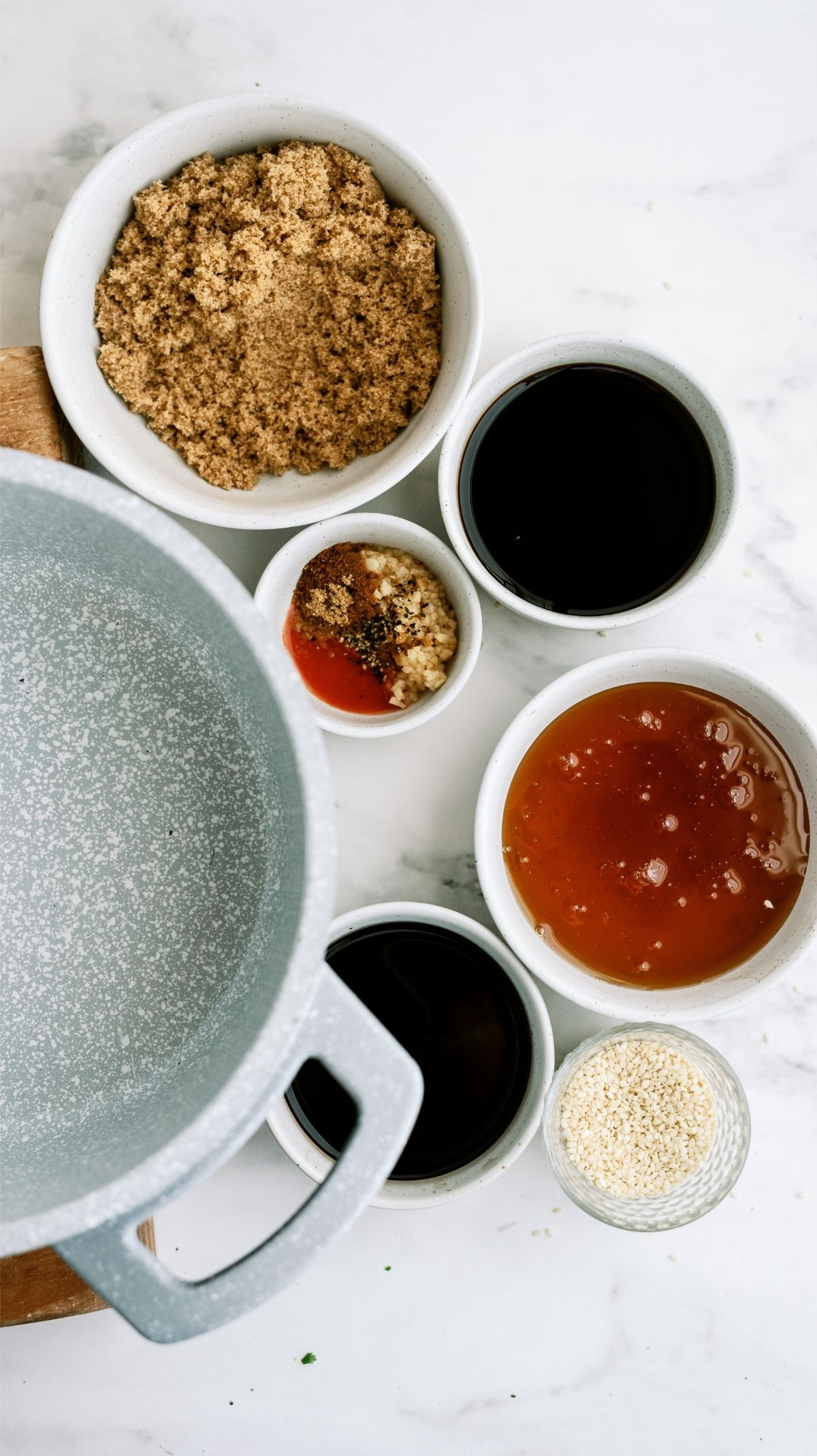 Sauce Ingredients and a saucepan