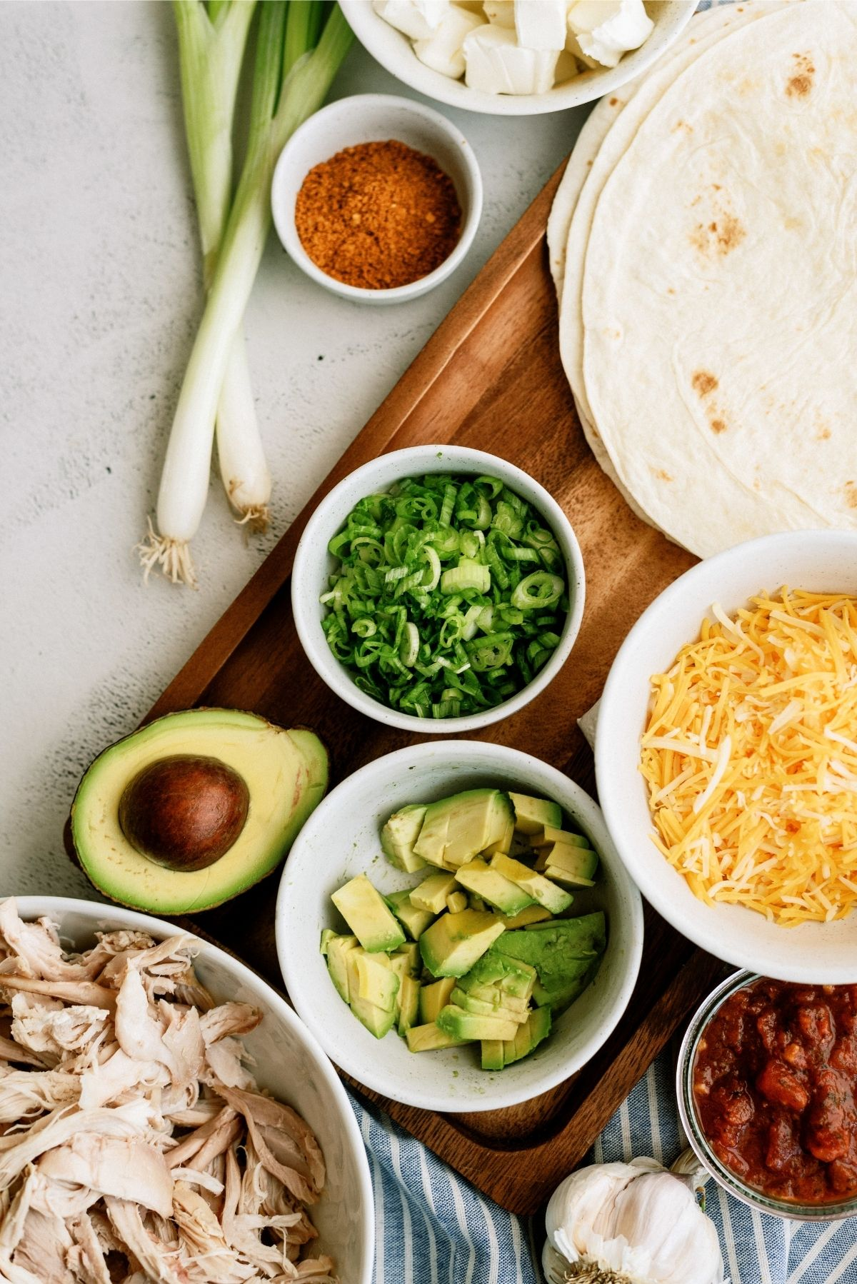 Ingredients for Chicken Taco Roll Ups