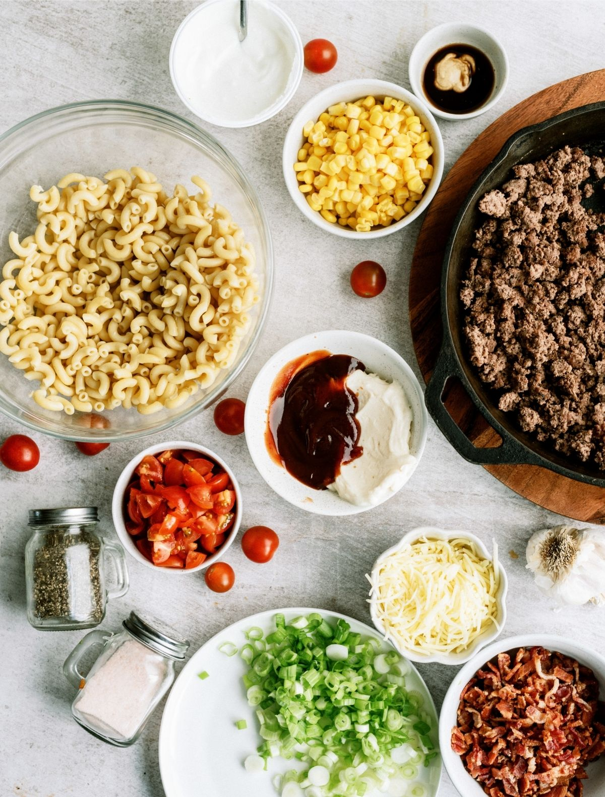 Ingredients for Cowboy Pasta Salad