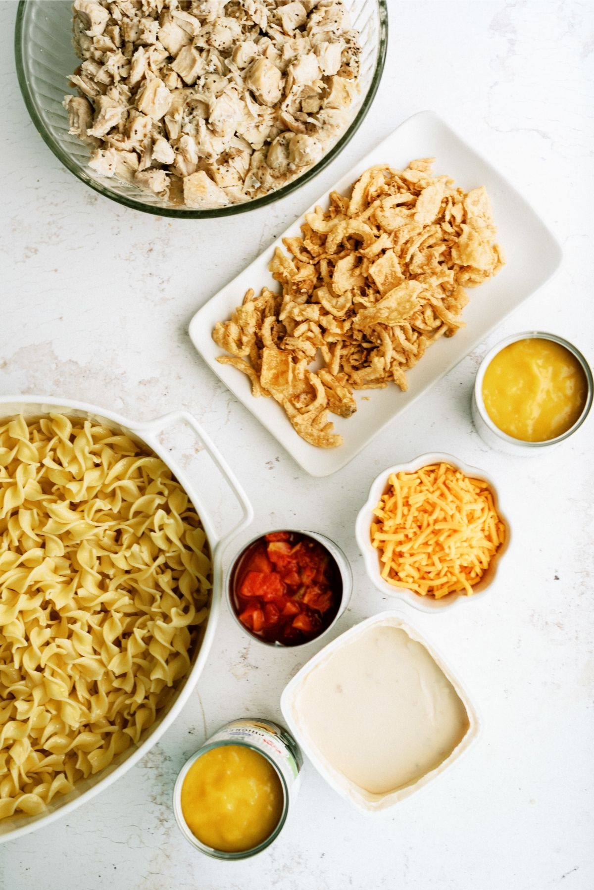 Ingredients for French Onion Chicken Noodle Casserole