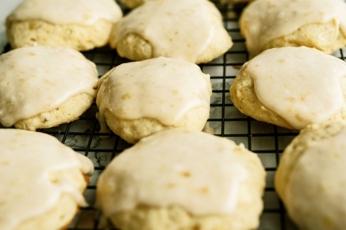 Frosted Banana Cookies on a cooling rack
