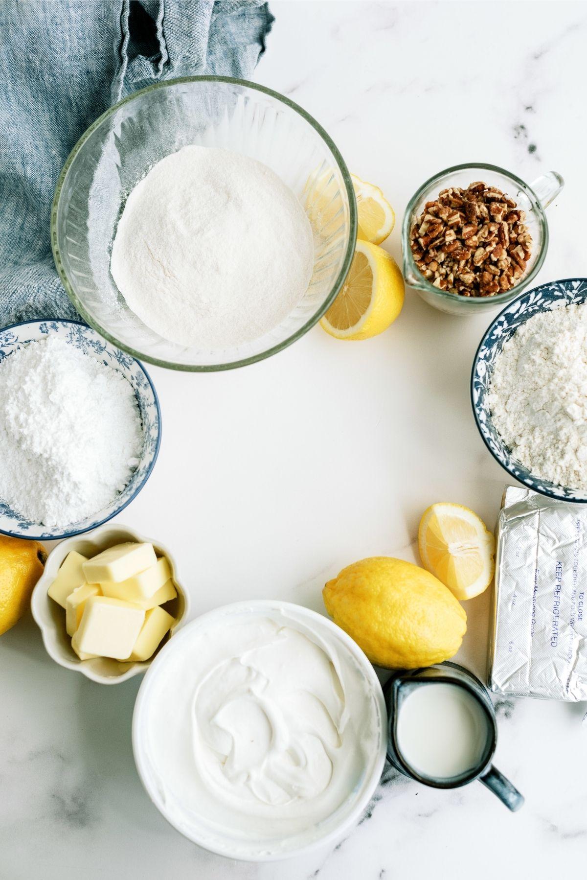 Ingredients for Layered Lemon Dessert