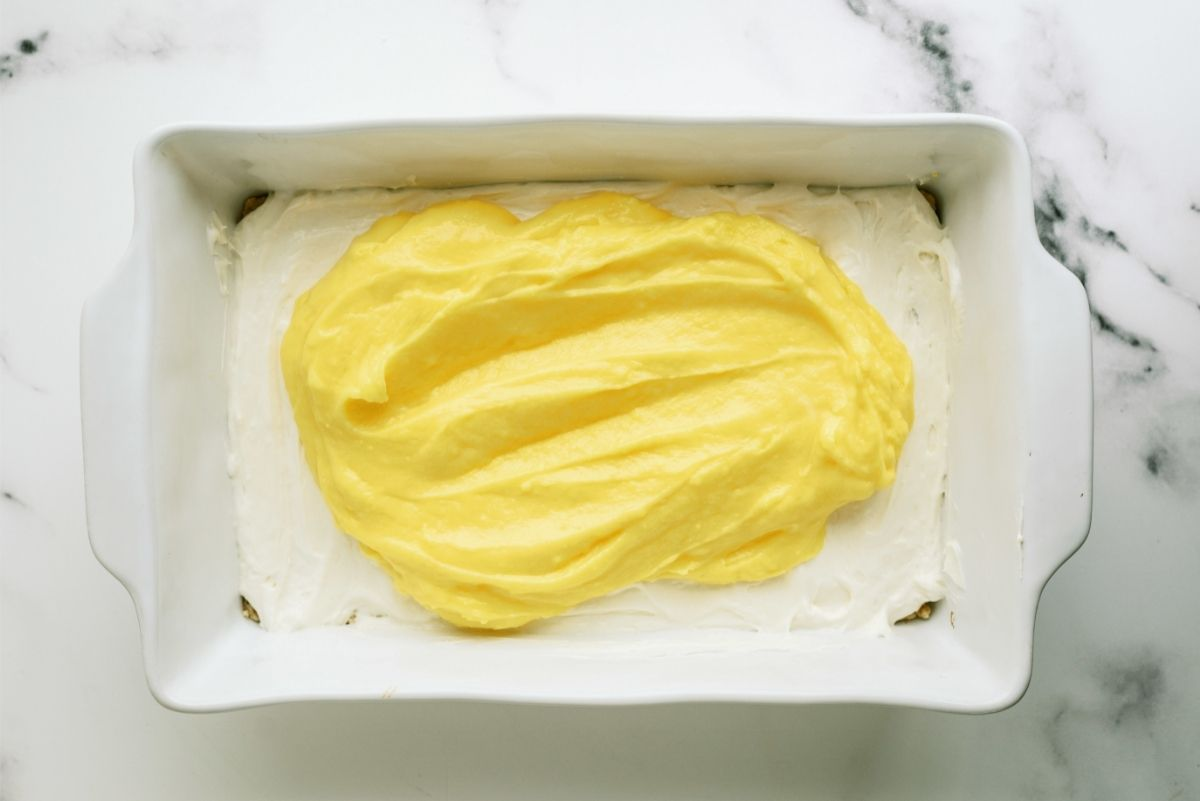 Spread Lemon Pudding Mixture over cream cheese mixture