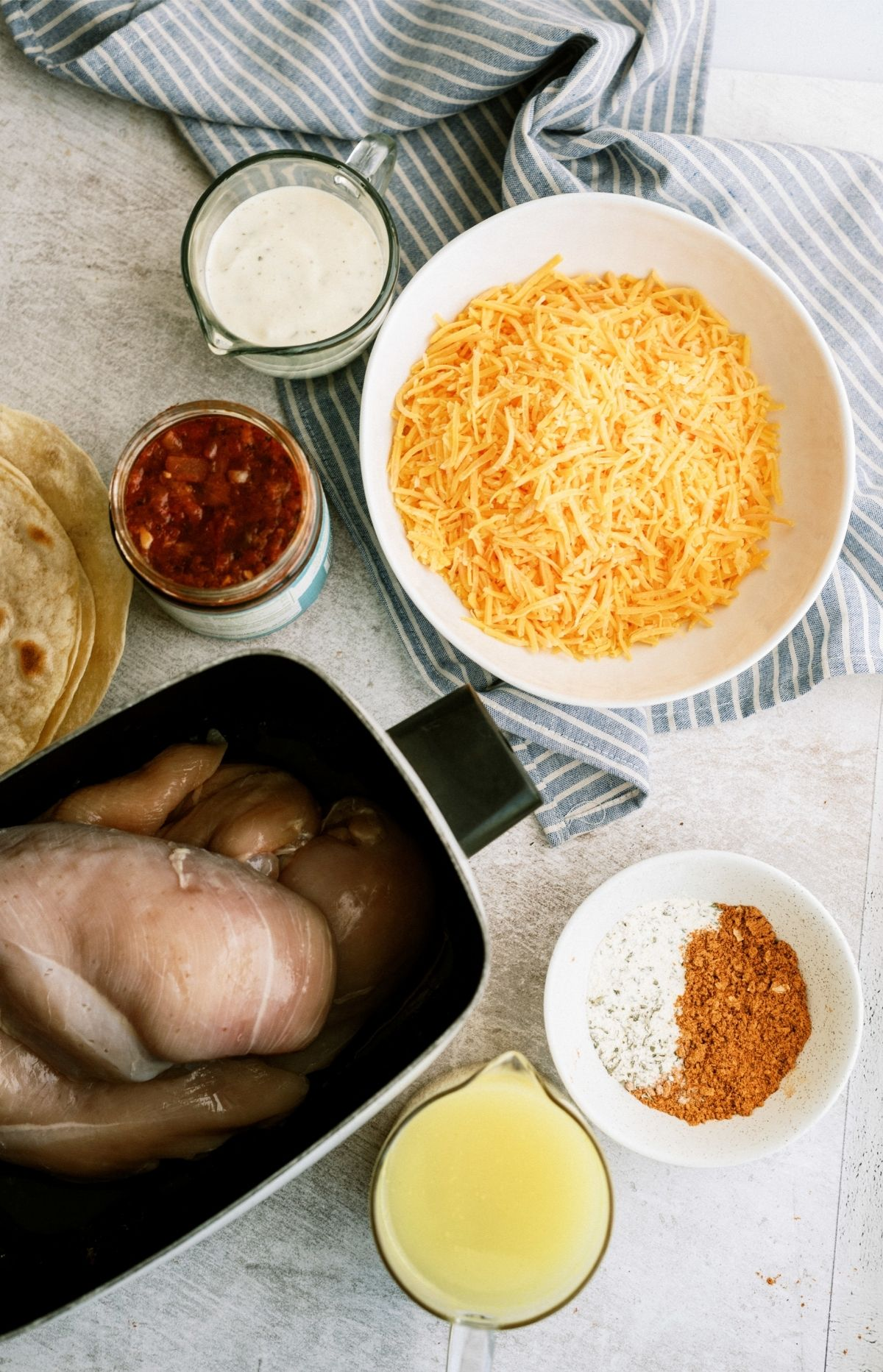 Ingredients for Slow Cooker Ranch Chicken Enchiladas Recipe