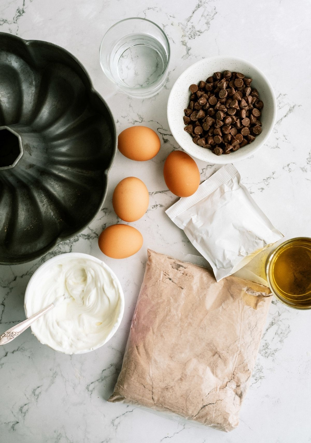 Ingredients for Triple Chocolate Bundt Cake Recipe