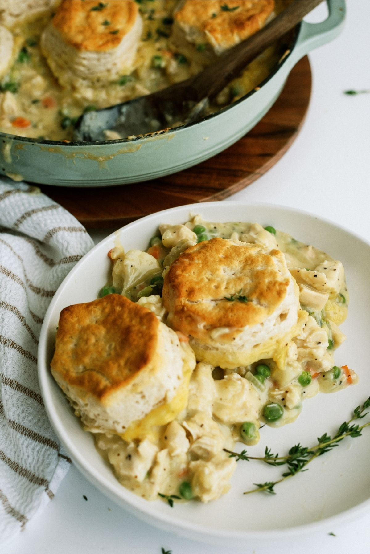 Easy Biscuit Chicken Pot Pie serving on a plate