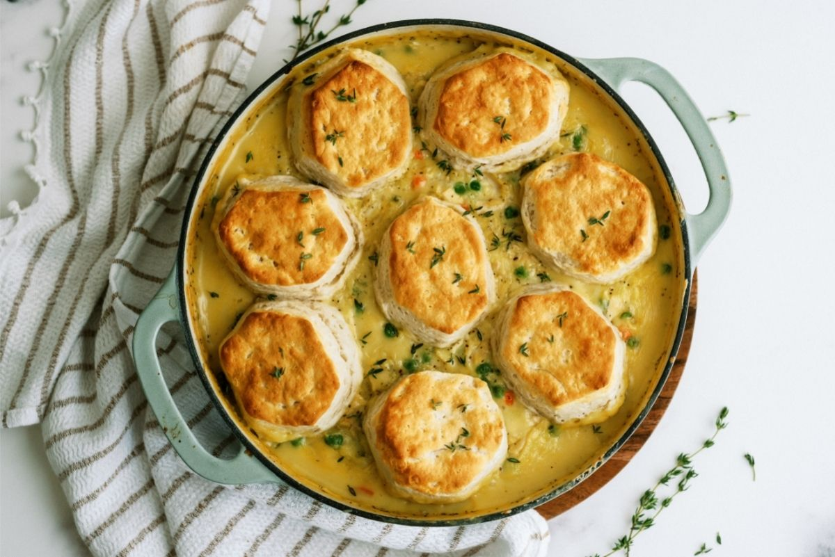 Easy Biscuit Chicken Pot Pie in a casserole dish