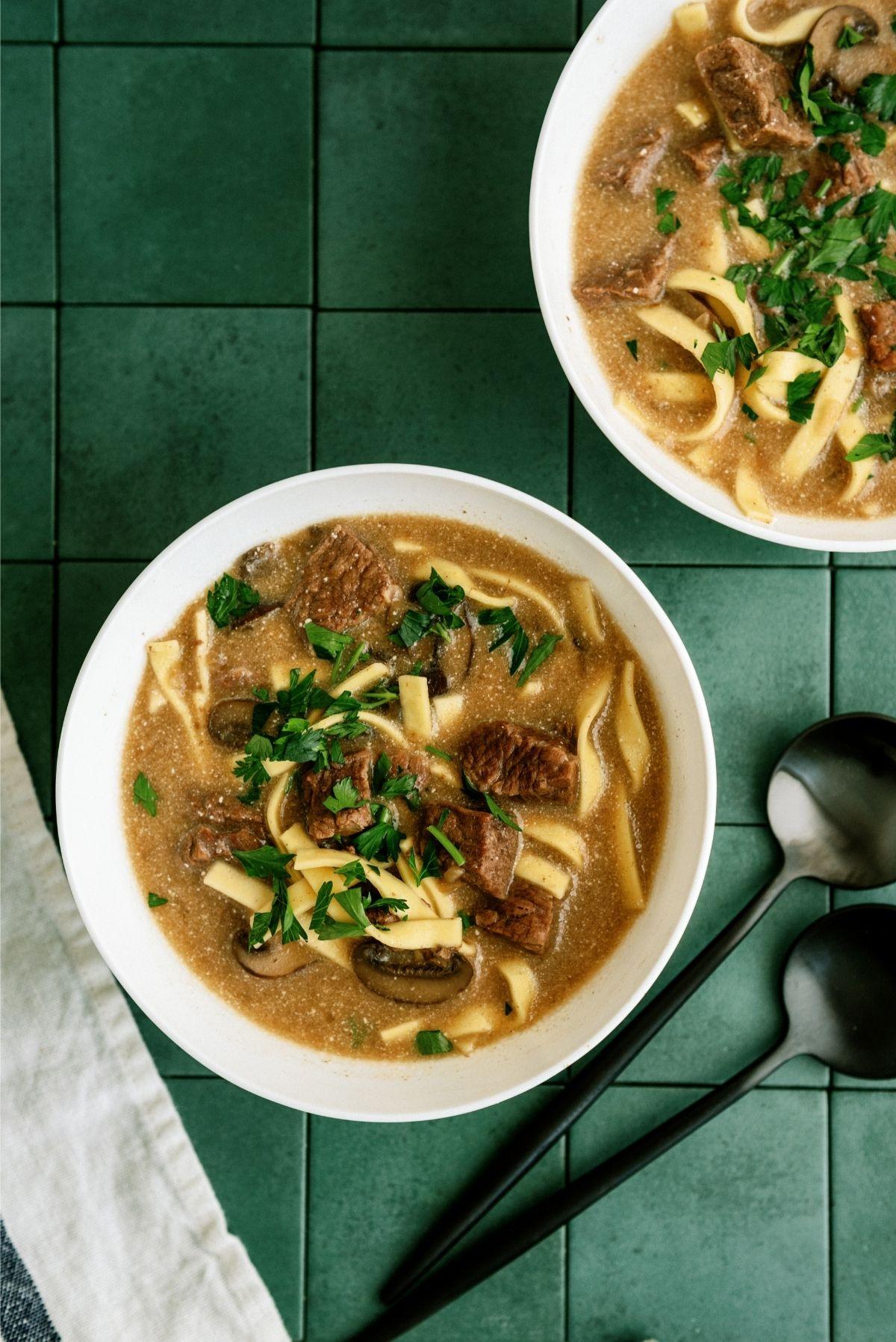 2 Bowls of Instant Pot Beef Stroganoff Soup