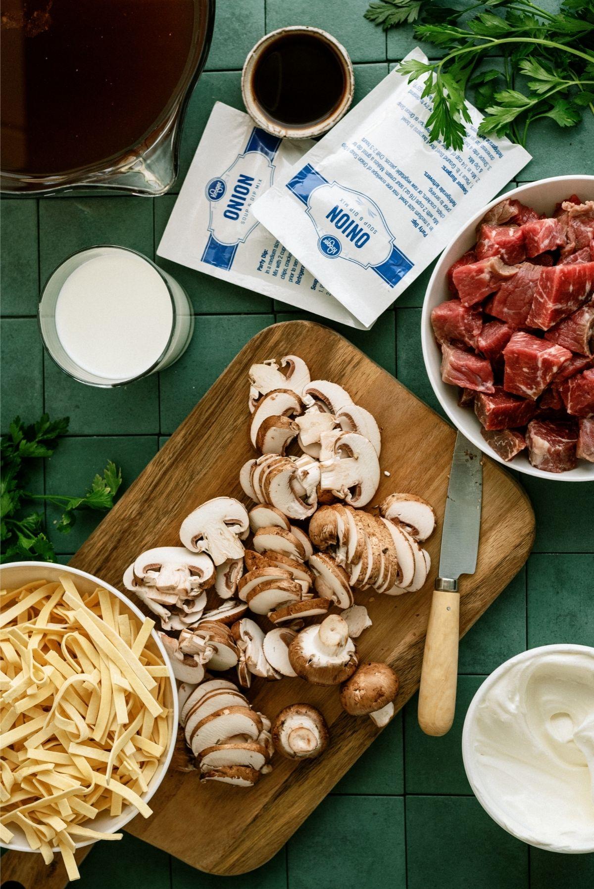 Ingredients for Instant Pot Beef Stroganoff Soup