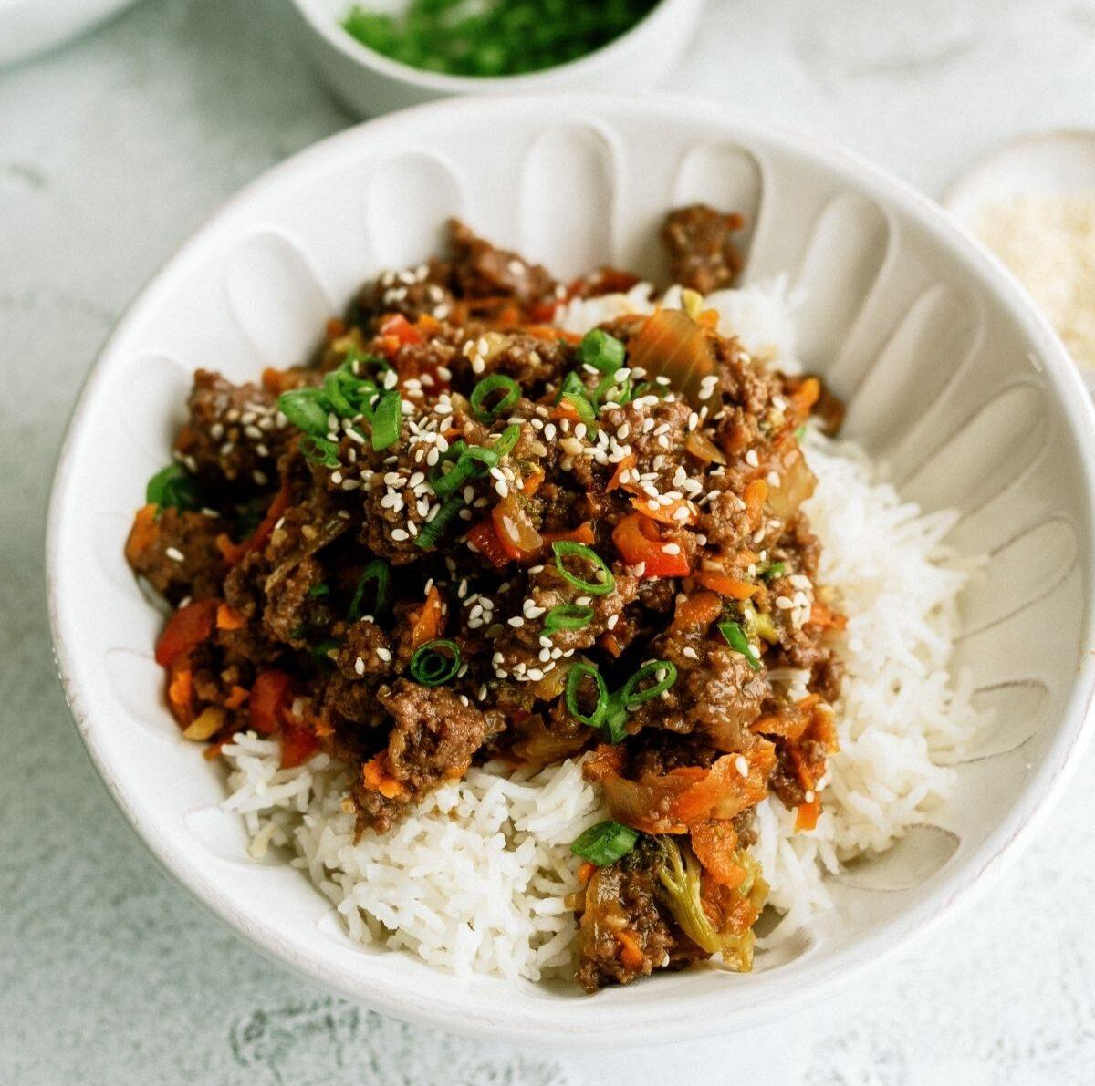 Instant Pot Ground Turkey Teriyaki Rice Bowls Recipe