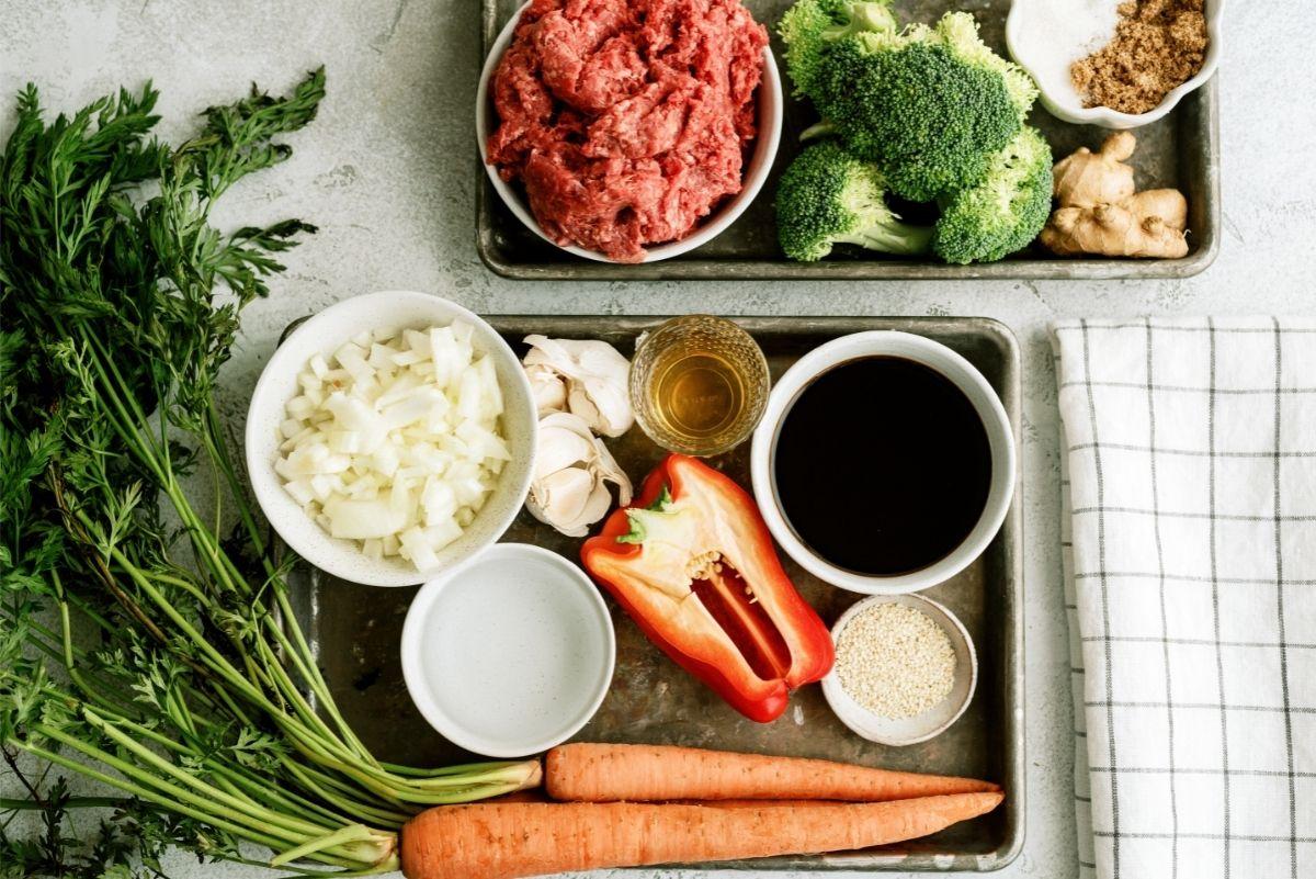 Ingredients for Instant Pot Ground Turkey Teriyaki Rice Bowls Recipe