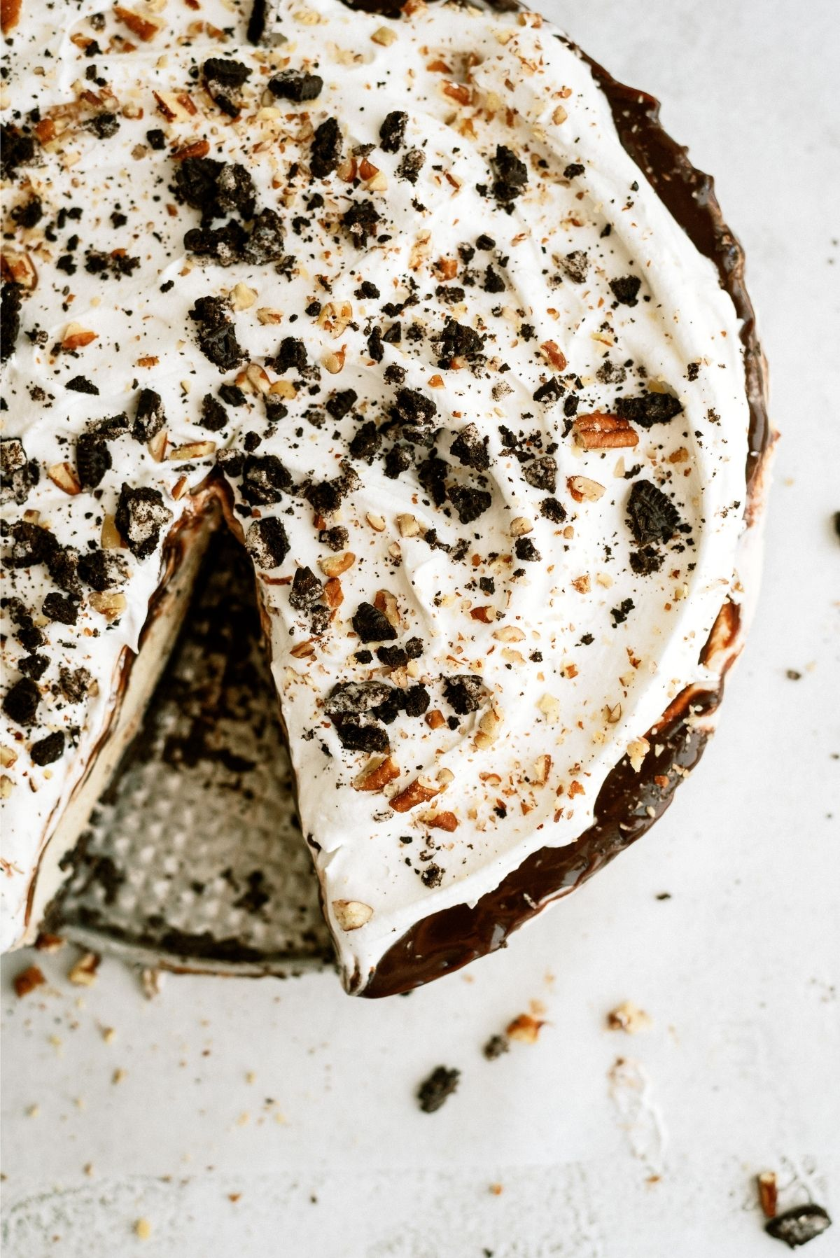 No Bake Mississippi Mud Ice Cream Pie with one slice misssing